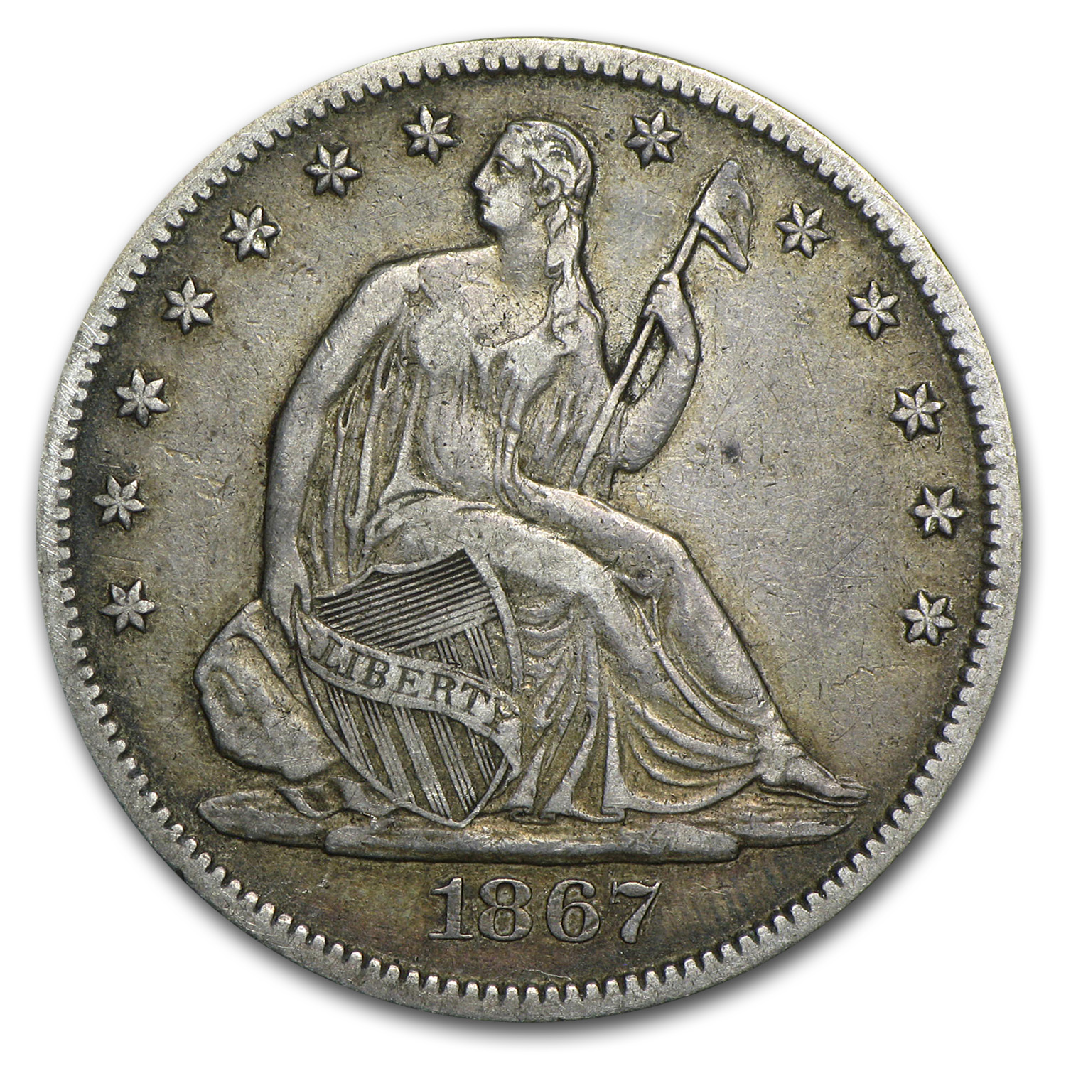 1867 Liberty Seated Half Dollar XF