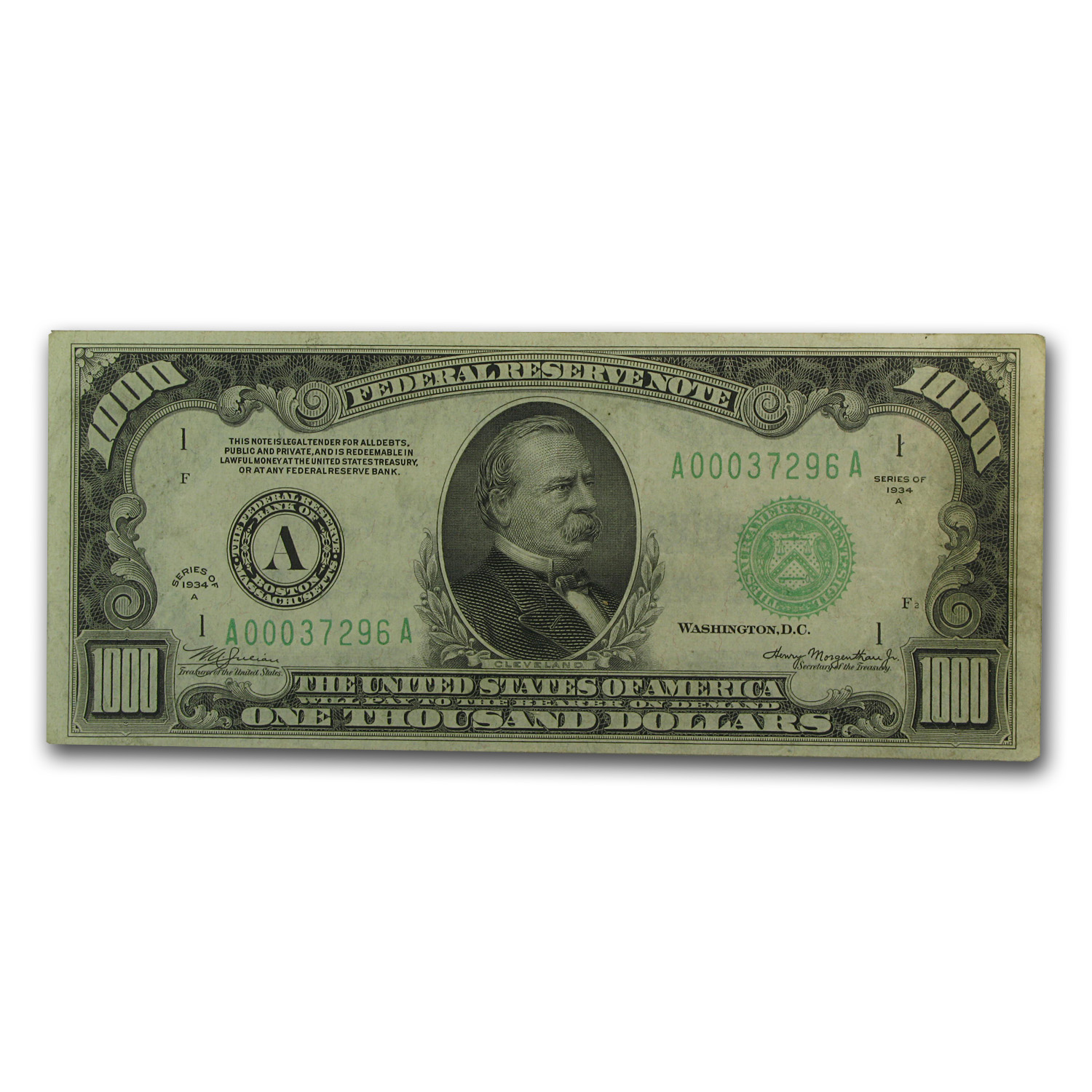 1934-A (A-Boston) $1,000 FRN (Very Fine + )