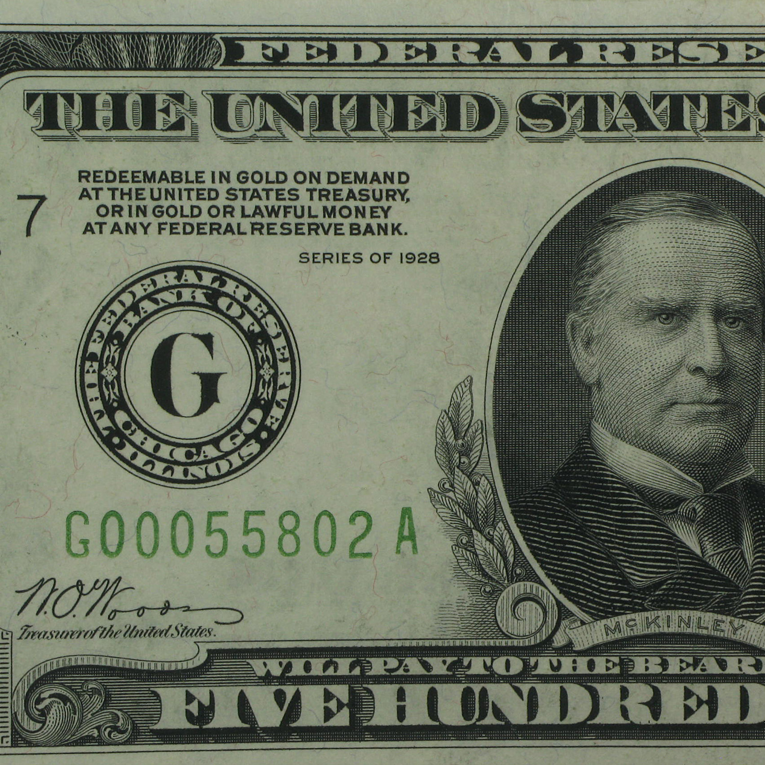 1928 (G-Chicago) $500 FRN (Almost Uncirculated 55 PMG)