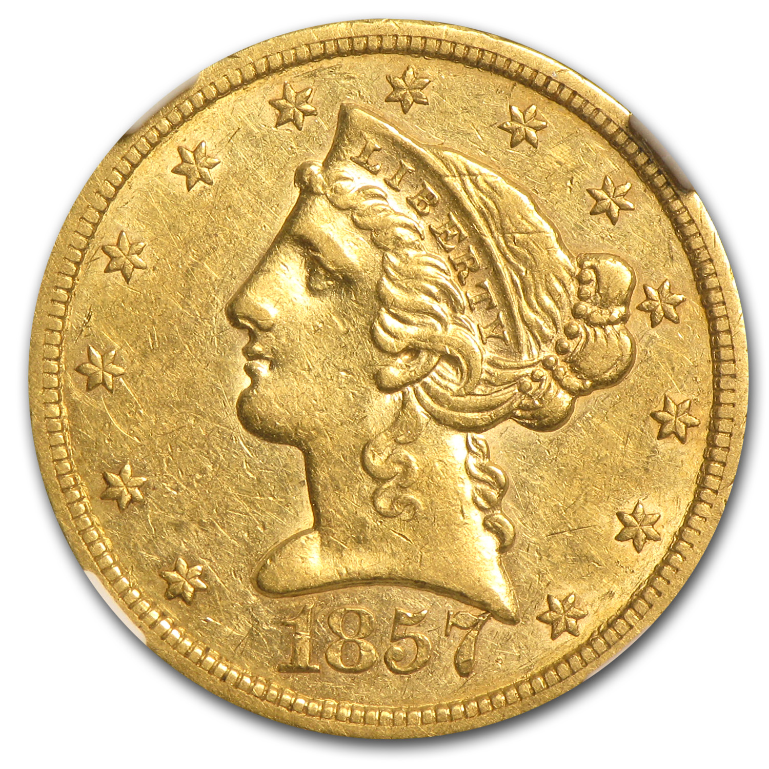 1857-S $5 Liberty Gold Half Eagle - AU Details (Reverse Graffiti)