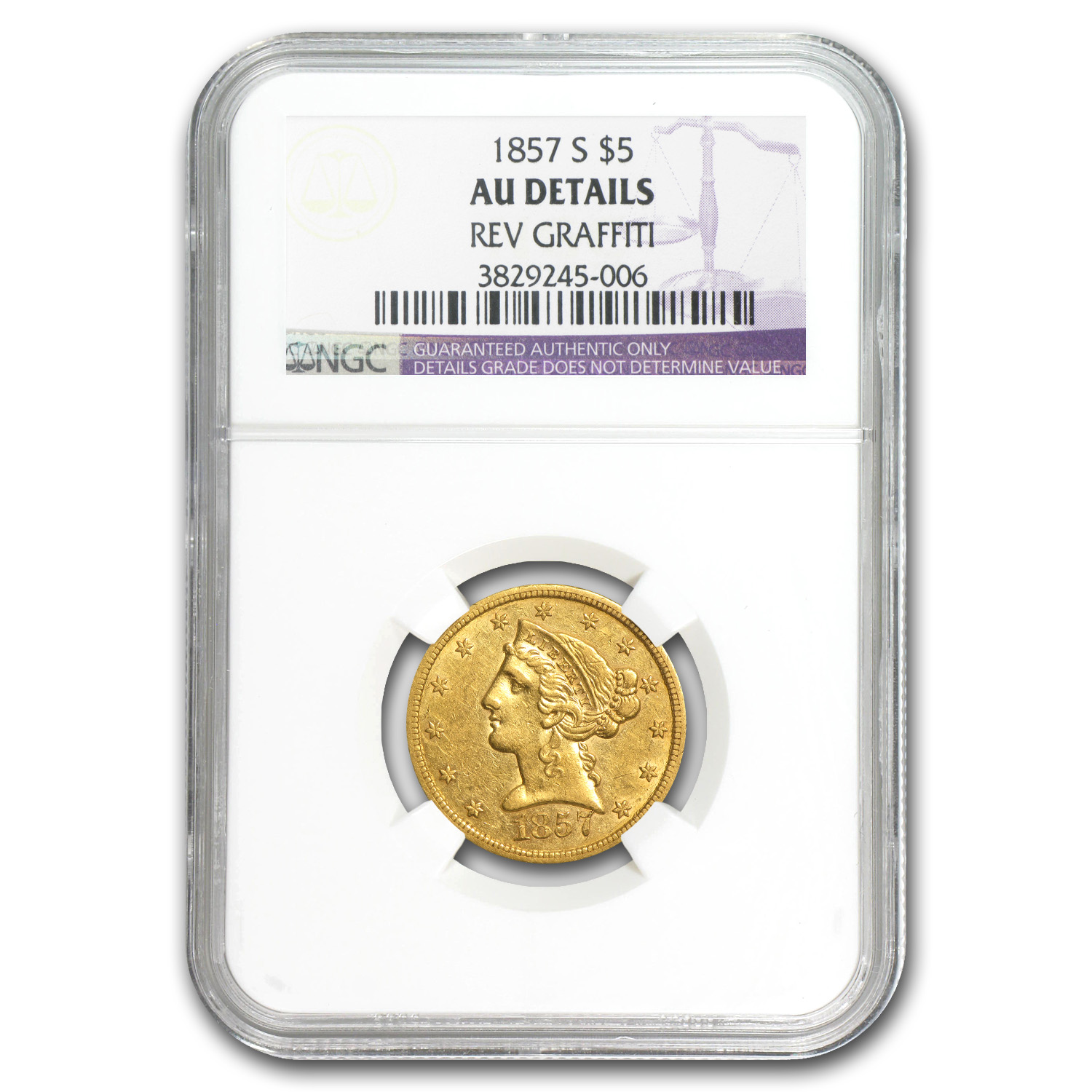 1857-S $5 Liberty Gold Half Eagle AU Details (Reverse Graffiti)