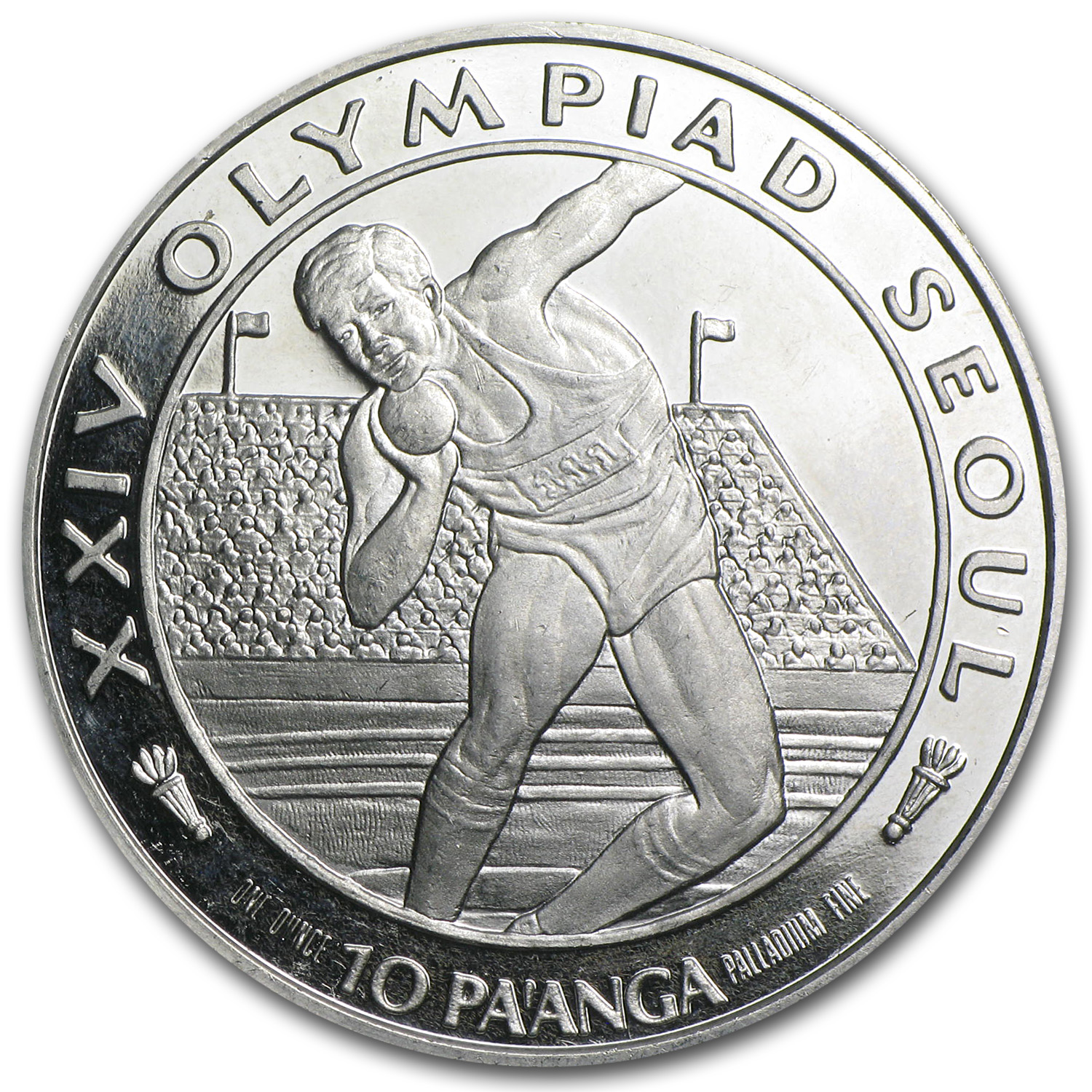 1988 1 oz Palladium Tonga 10 Pa'anga Proof (Scruffy)