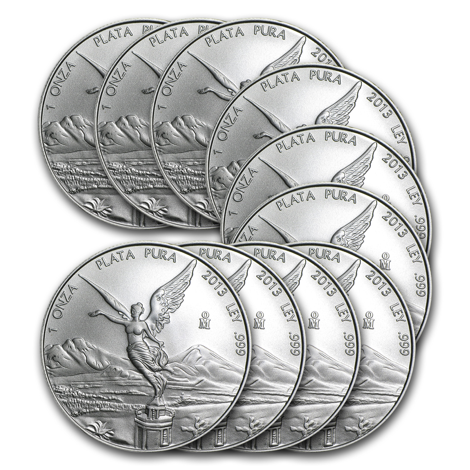 2013 Mexico 1 oz Silver Libertad (Lot of 10)