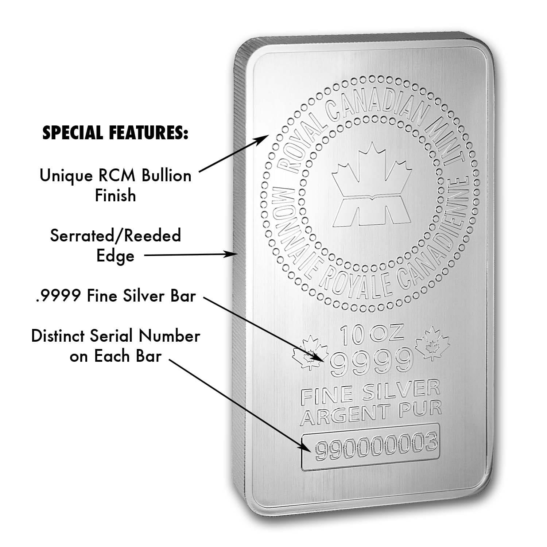 10 Oz Silver Bar Rcm 9999 Fine New Style