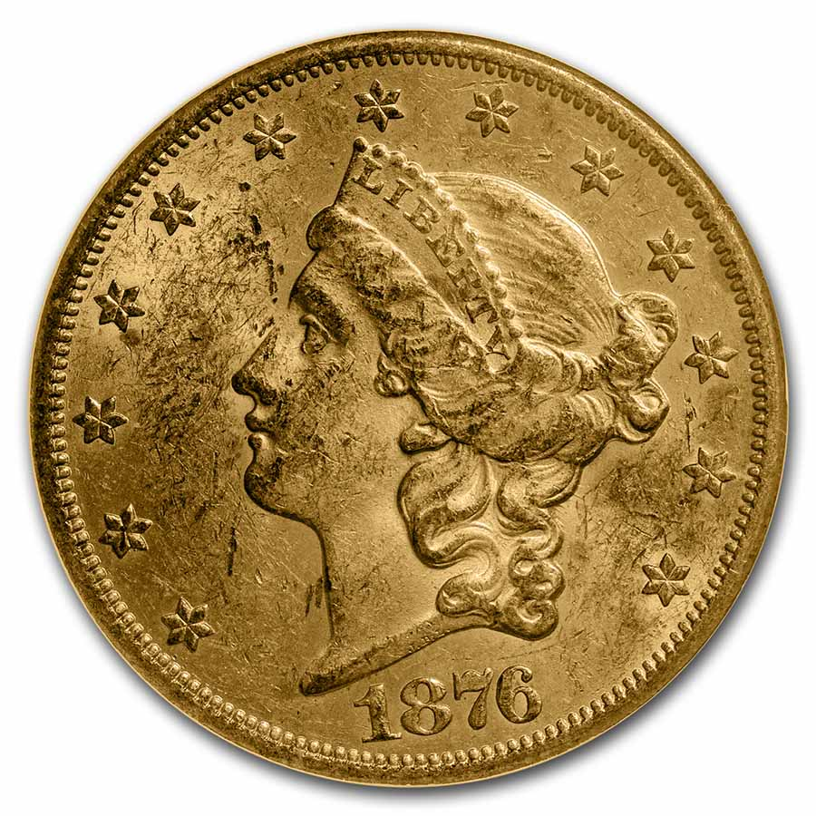 1876-S $20 Gold Liberty Double Eagle - MS-61 NGC