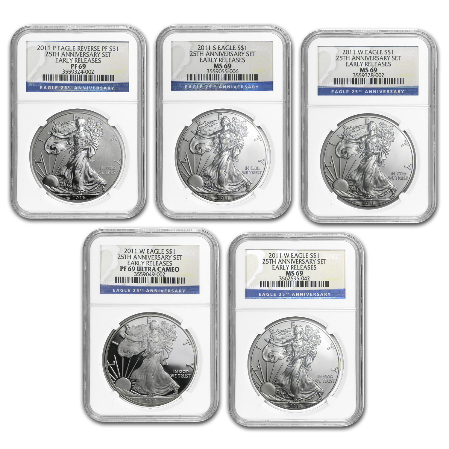 2011 Silver Eagle Set - MS/PF-69 NGC - 5 Coins - 25th Anniv/ER