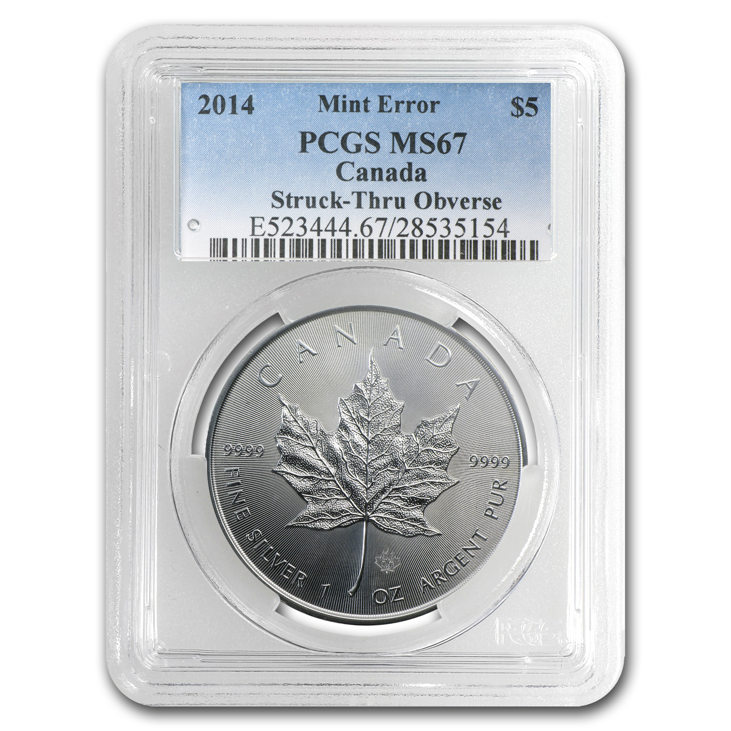 2014 1 oz Silver Can. Maple Leaf Obv.Struck Mint Error MS-67 PCGS