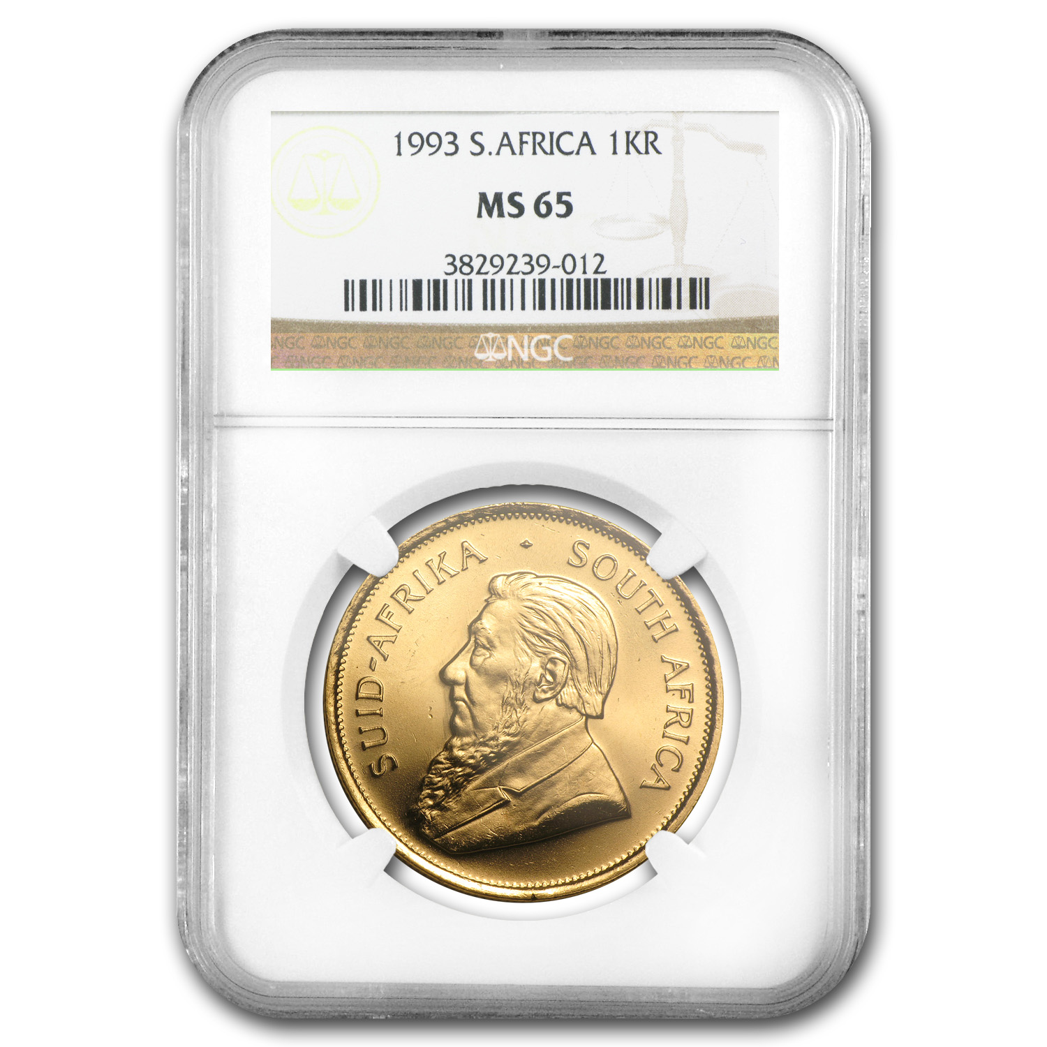 1993 South Africa 1 oz Gold Krugerrand MS-65 NGC