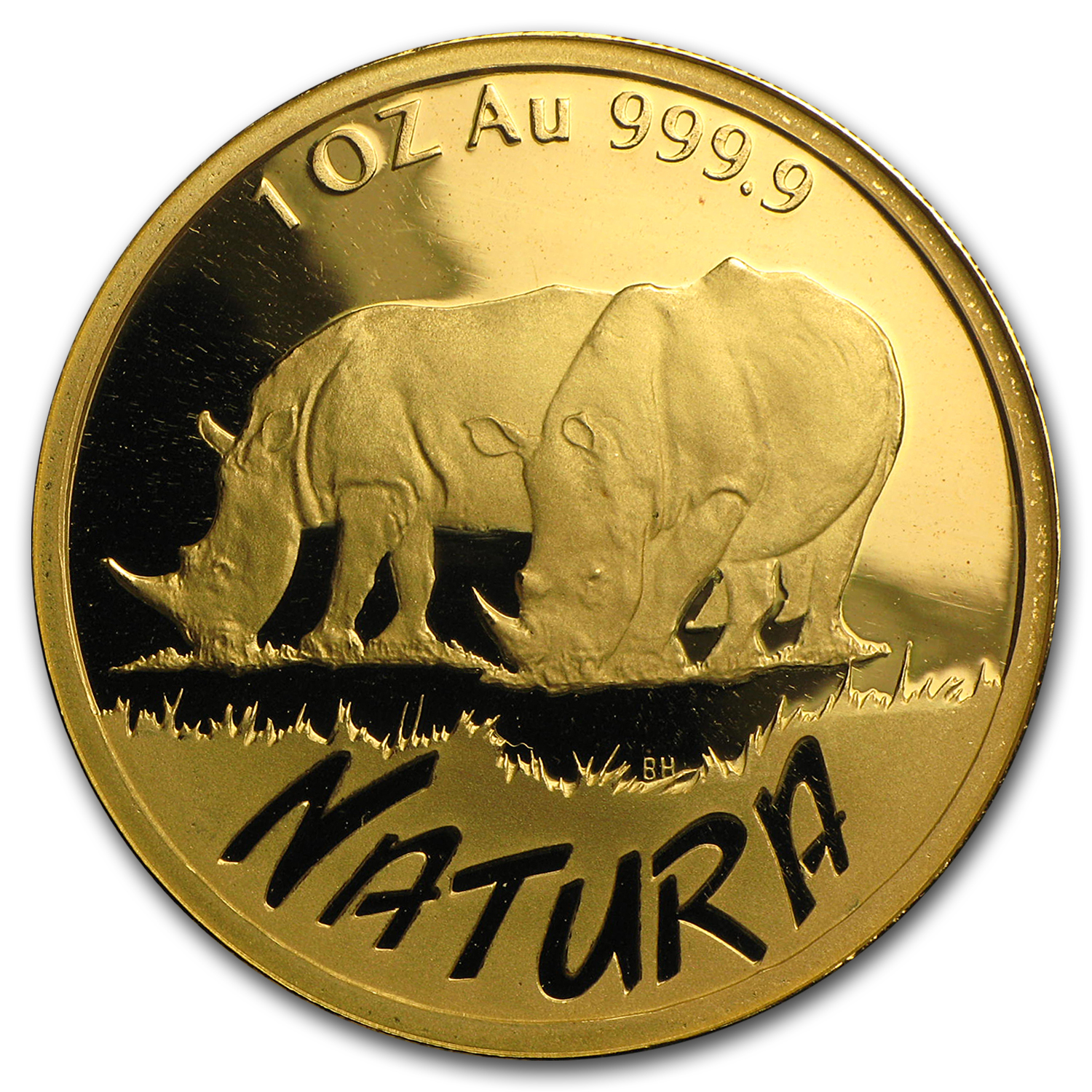 1995 South Africa 1 oz Proof Gold Natura Rhino