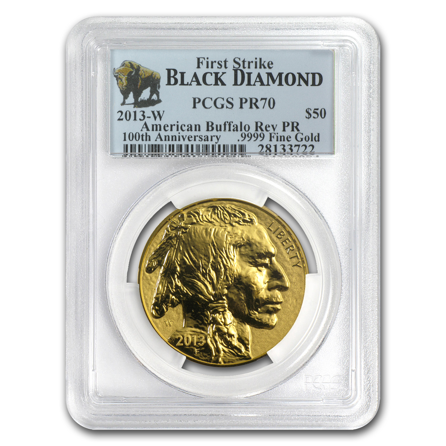 2013-W 1 oz Rev Proof Gold Buffalo PR-70 PCGS (FS, Black Diamond)