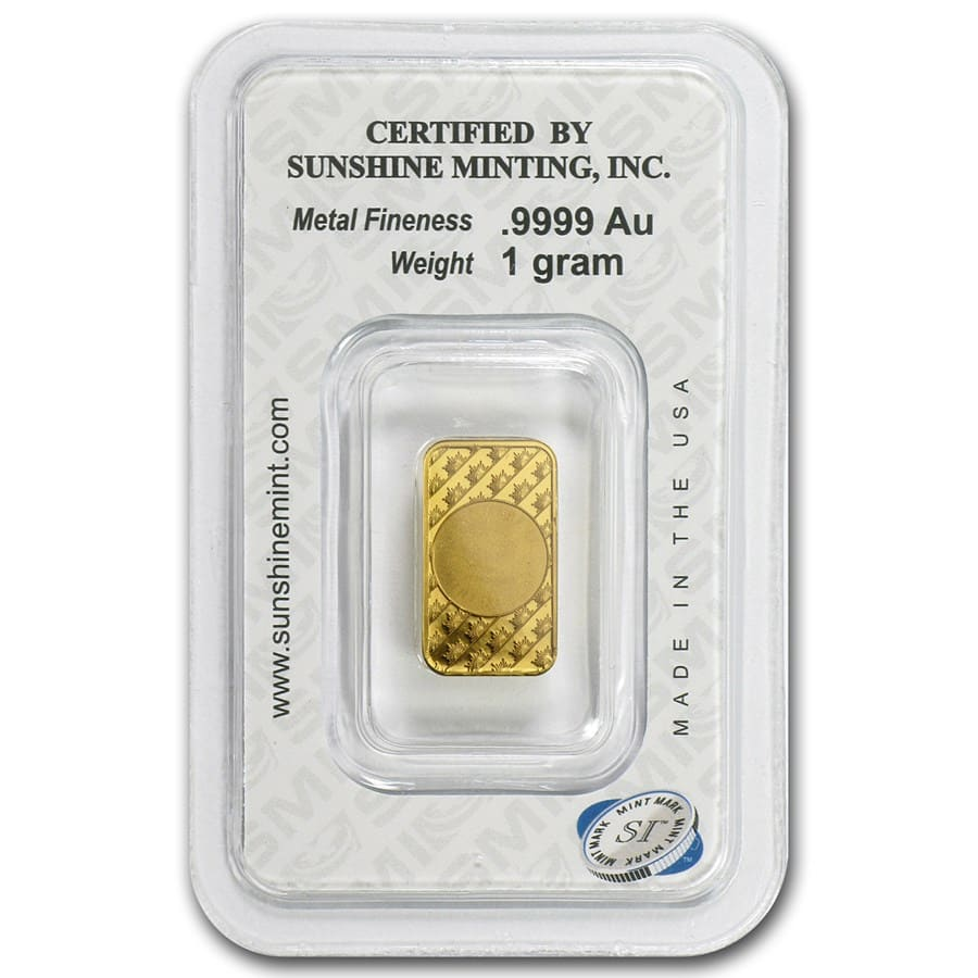 1 Gram Gold Bar - Sunshine Minting (New Design in TEP Packaging)