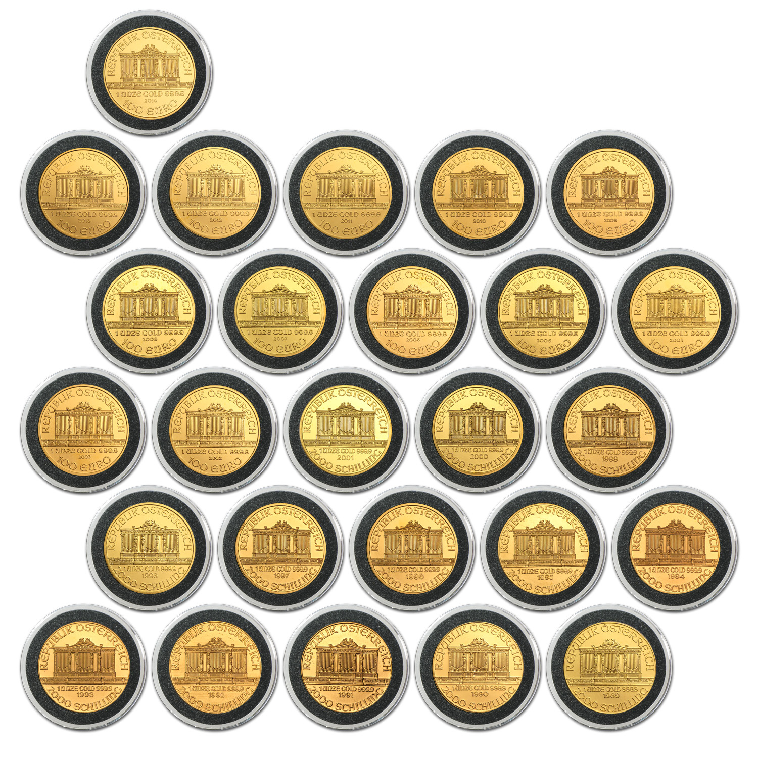 1989-2014 1 oz Gold Philharmonic Complete 26 Coin Collection