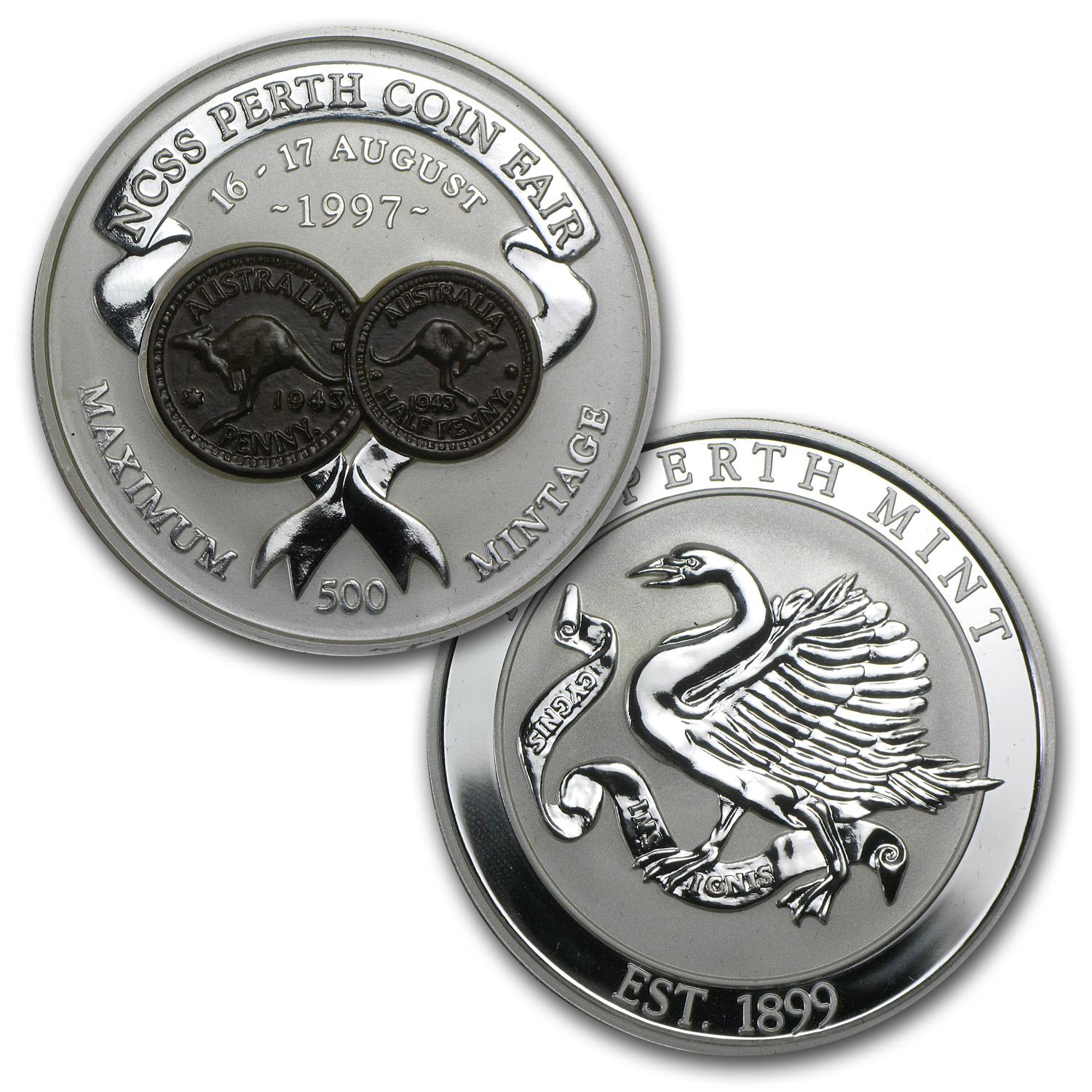 1997 2 oz Silver Kookaburra and 2 oz Coin Fair Medallion