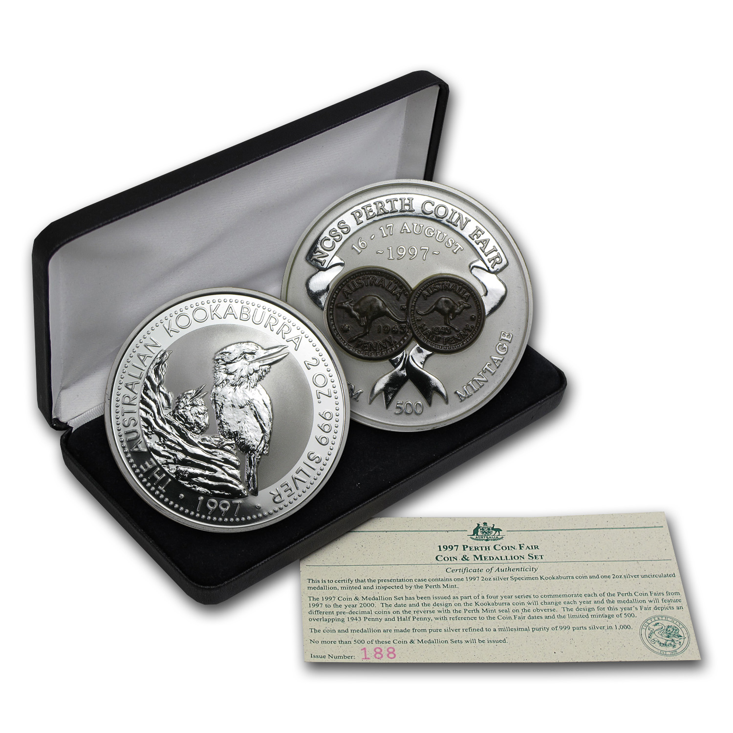 1997 2-Piece 2 oz Silver Kookaburra & Coin Fair Medallion Set BU