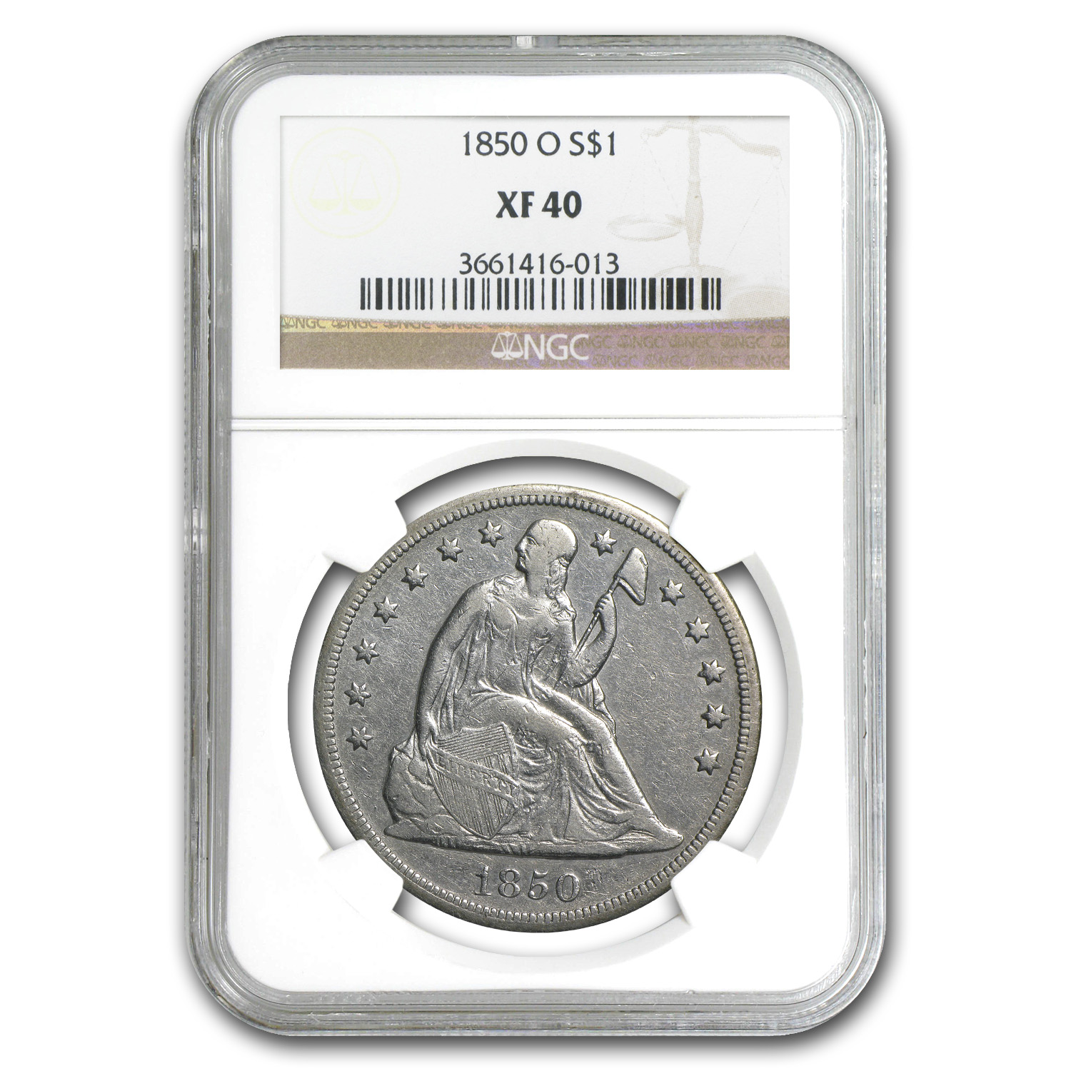 1850-O Liberty Seated Dollar XF-40 NGC
