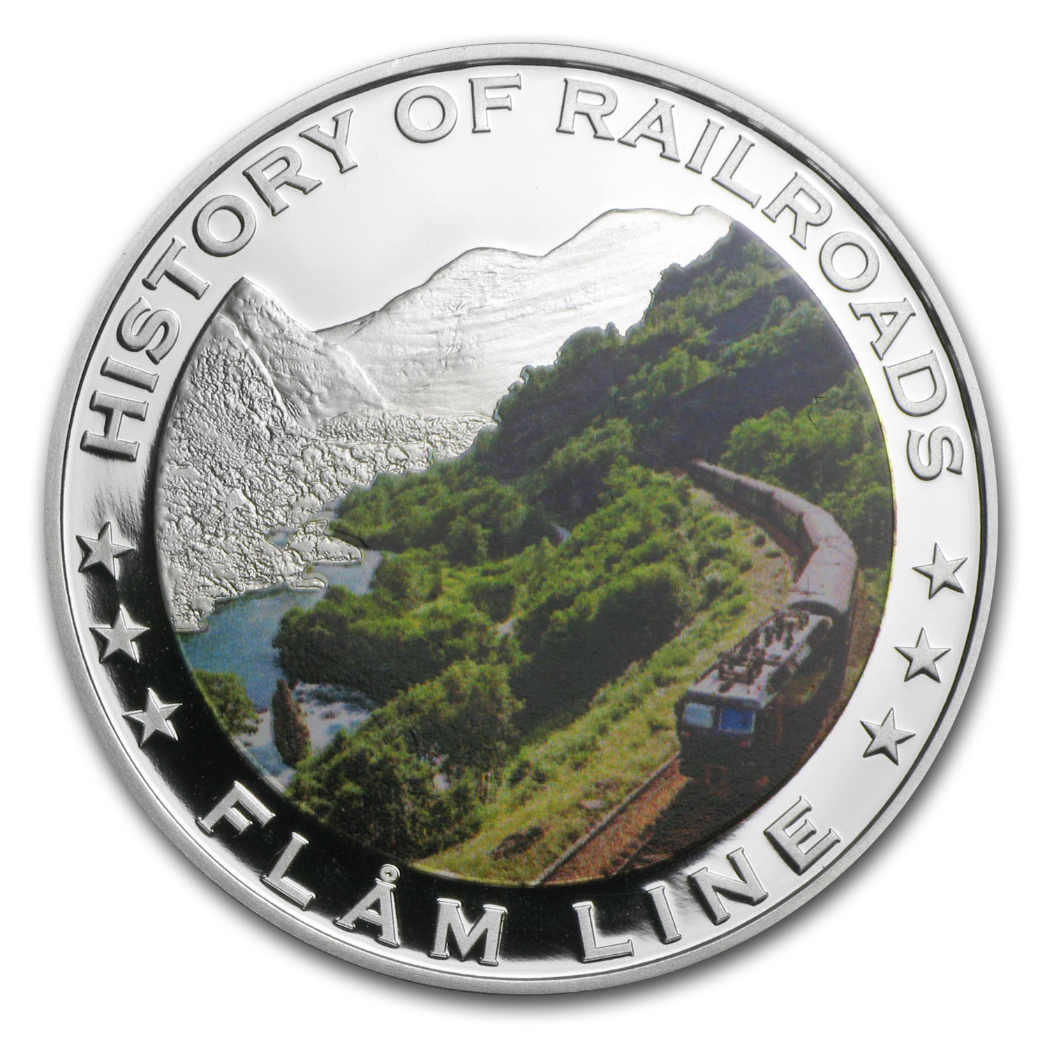 2011 Liberia Silver $5 Flam Line Railroad Proof