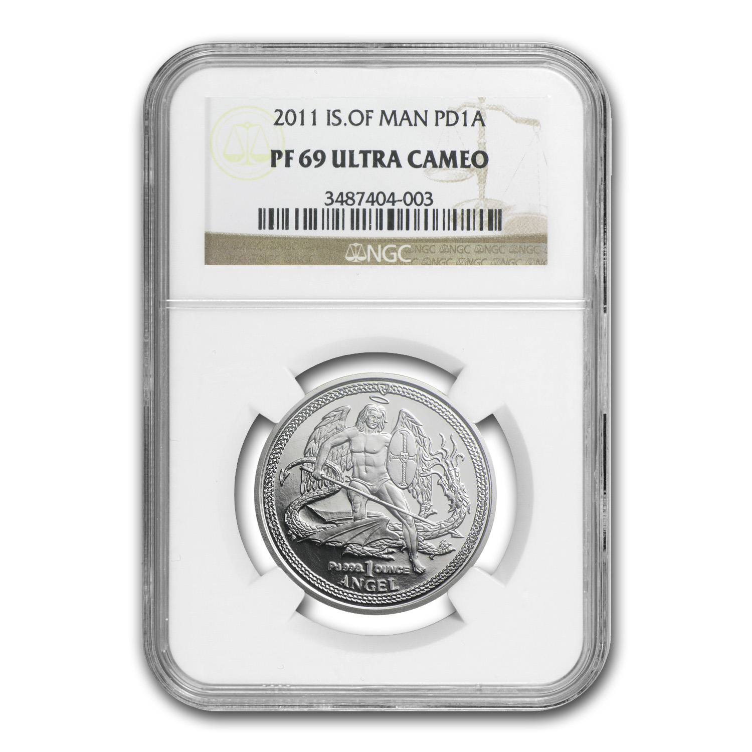 2011 1 oz Isle of Man Palladium Angel PF-69 Ultra Cameo NGC