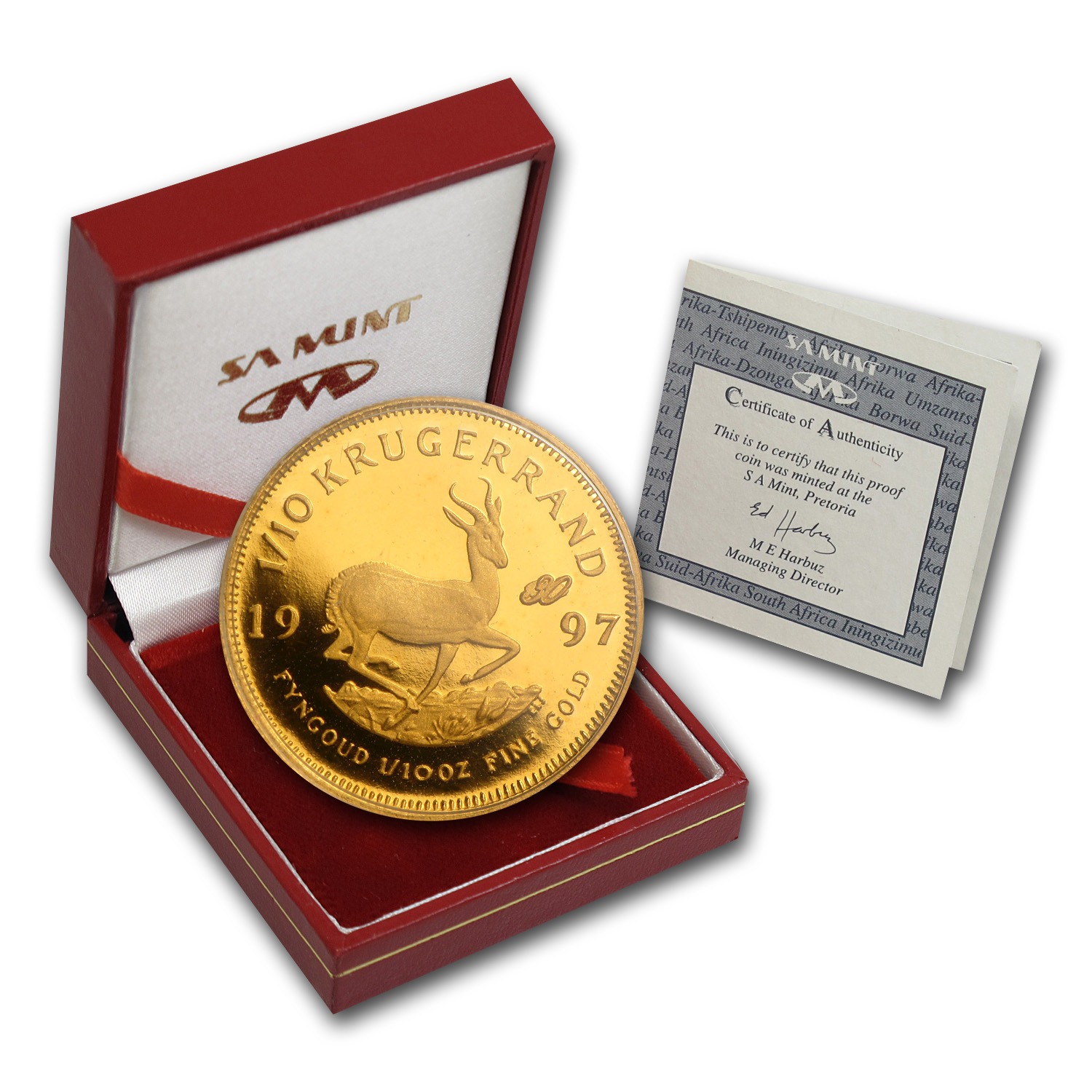 1997 South Africa 1/10 oz Proof Gold Krugerrand (30th Ann)
