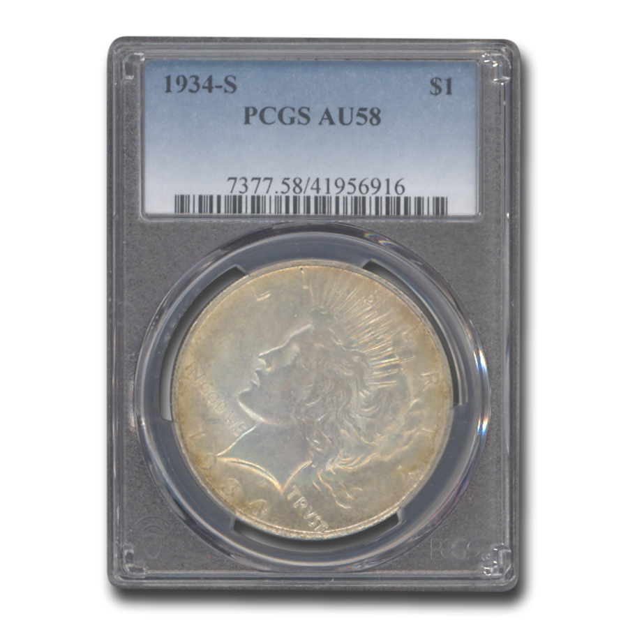 1934-S Peace Dollar Almost Uncirculated-58 PCGS