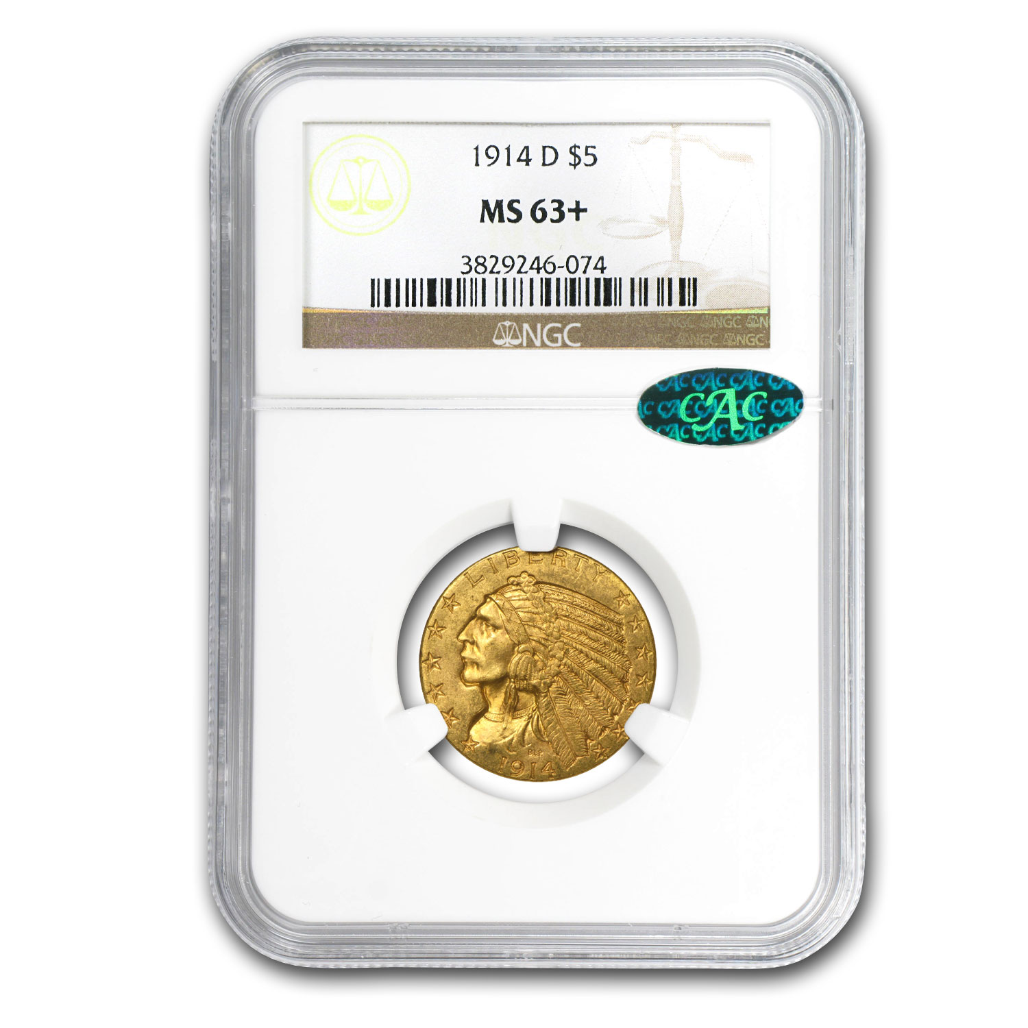 1914-D $5 Indian Gold Half Eagle MS-63+ NGC (CAC)