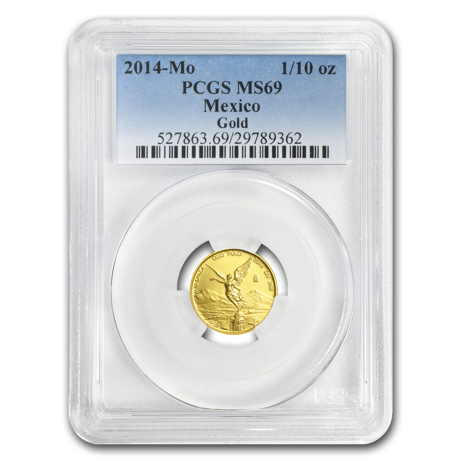 2014 1/10 oz Gold Mexican Libertad MS-69 PCGS