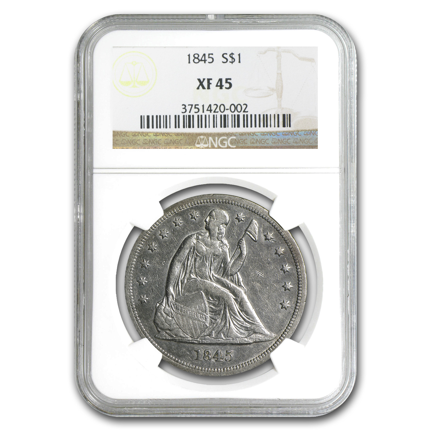 1845 Liberty Seated Dollar Extra Fine-45 NGC