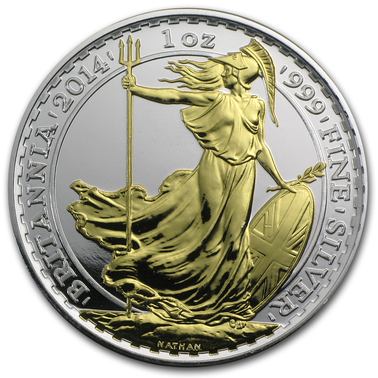 2014 Great Britain 1 oz Silver Britannia BU (Gilded)