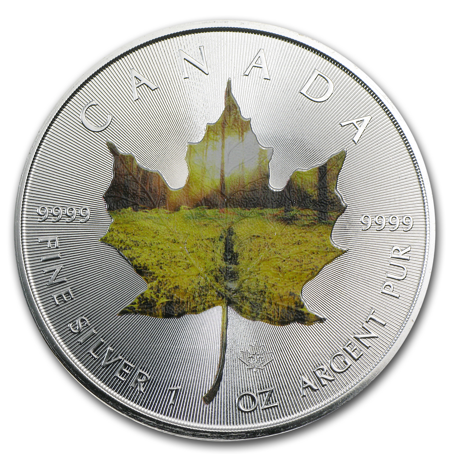 2014 1 oz Silver Canadian Maple Leaf - Summer Landscape