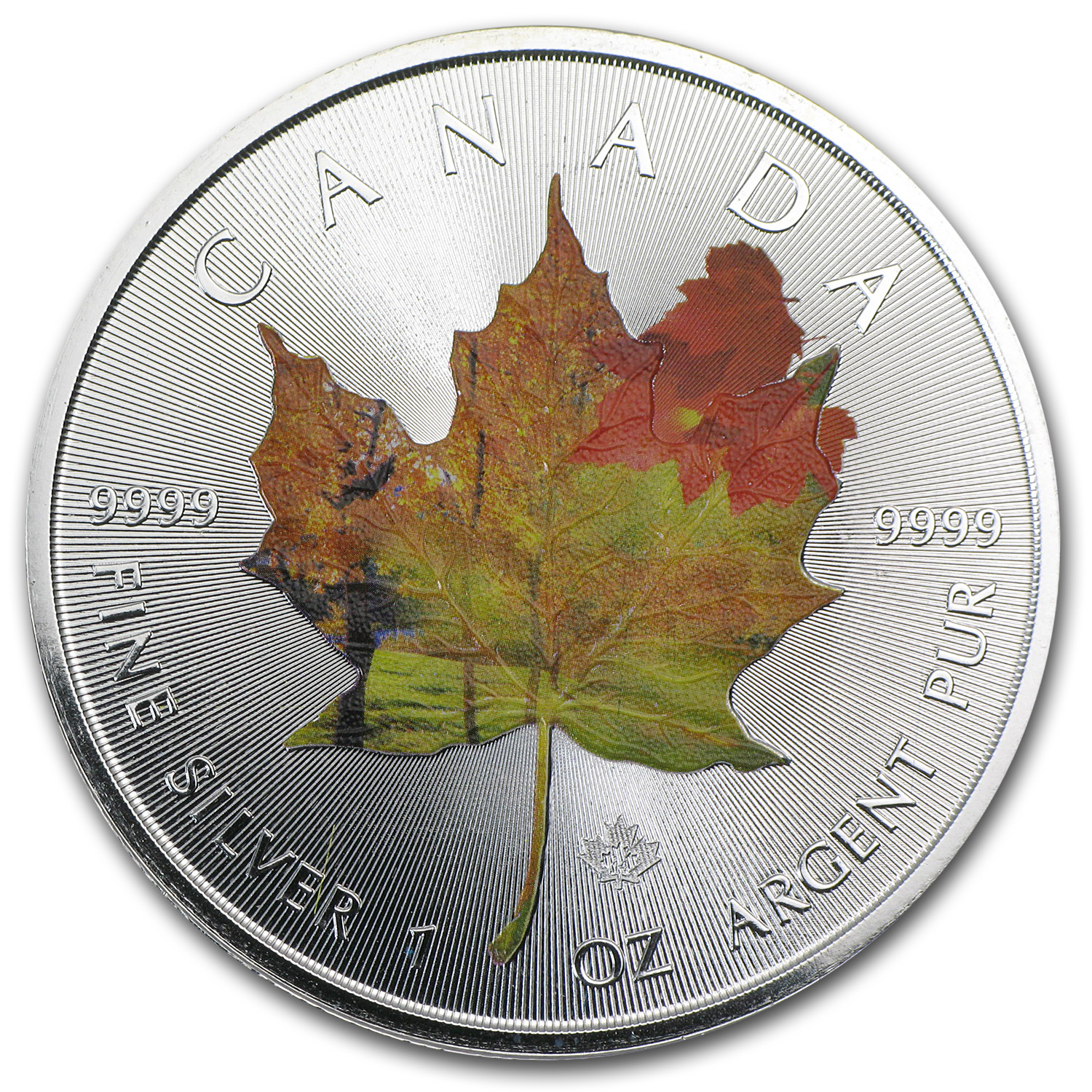 2014 1 oz Silver Canadian Maple Leaf - Autumn Landscape