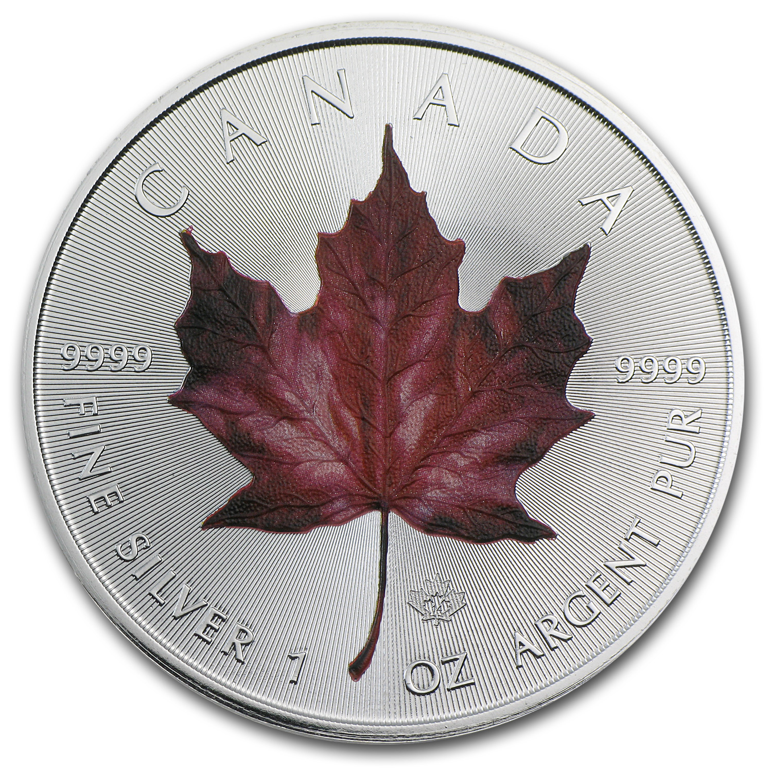 2014 Canada 1 oz Silver Maple Leaf Red Maple Leaf