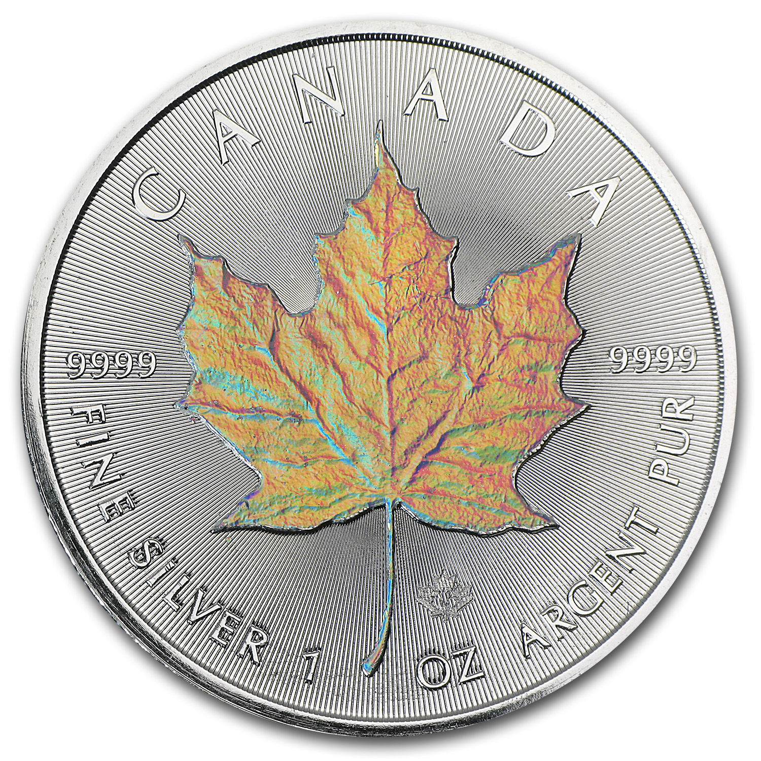 2014 1 oz Silver Canadian Maple Leaf - Hologram Maple Leaf