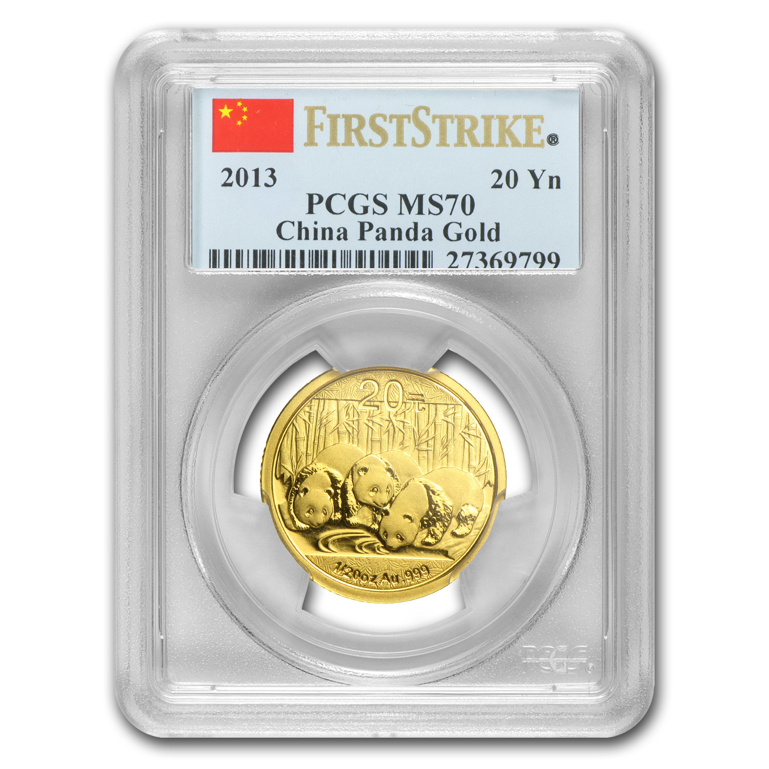 2013 China 1/20 oz Gold Panda MS-70 PCGS (First Strike)