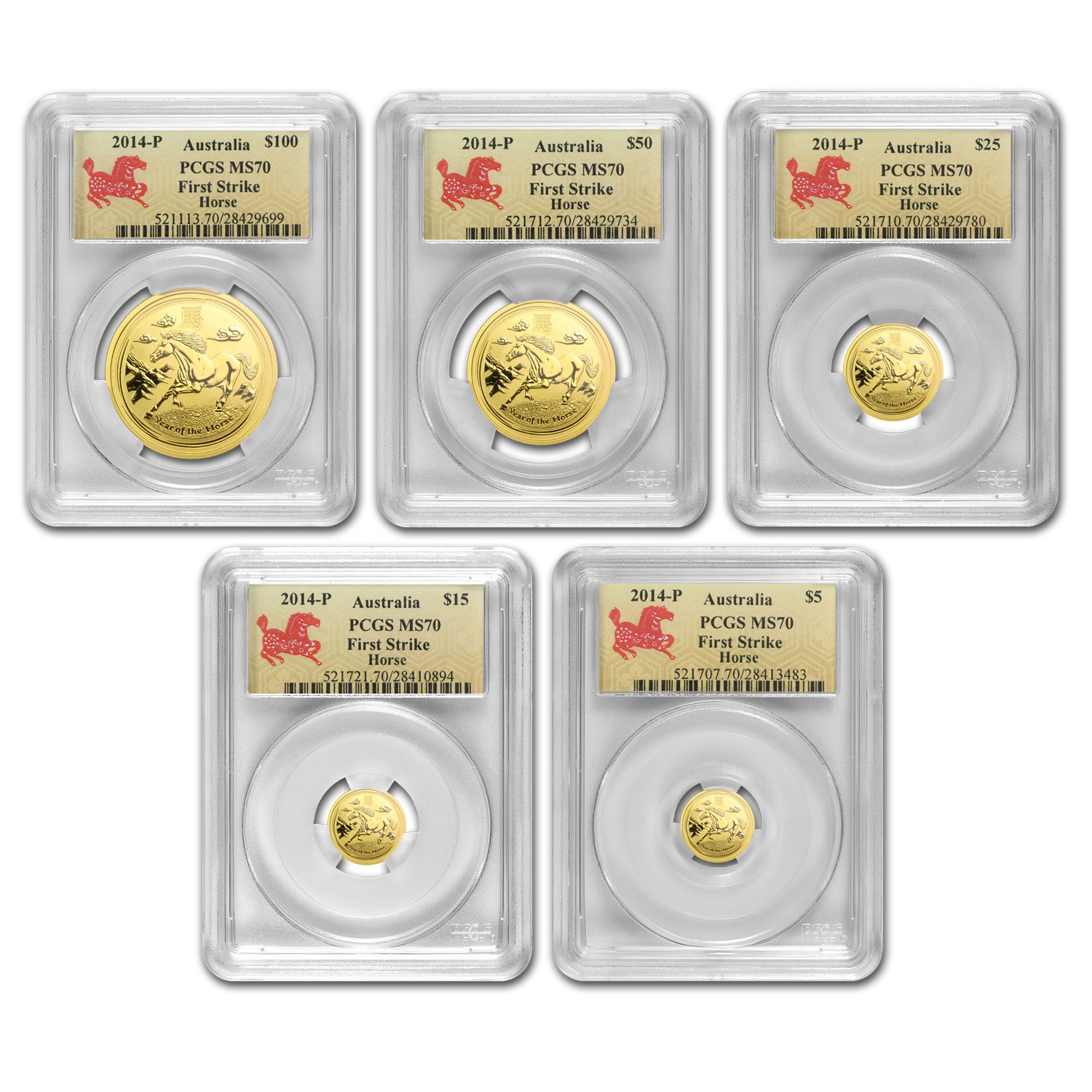 2014 5-Coin Gold Lunar Year of the Horse Set MS-70 PCGS (SII, FS)