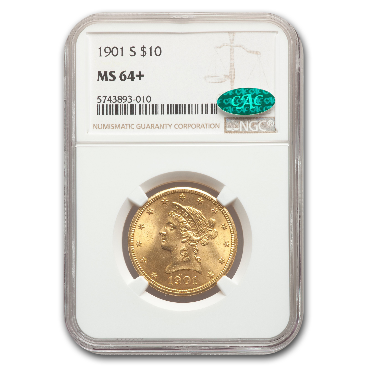 1901-S $10 Liberty Gold Eagle MS-64+ NGC CAC