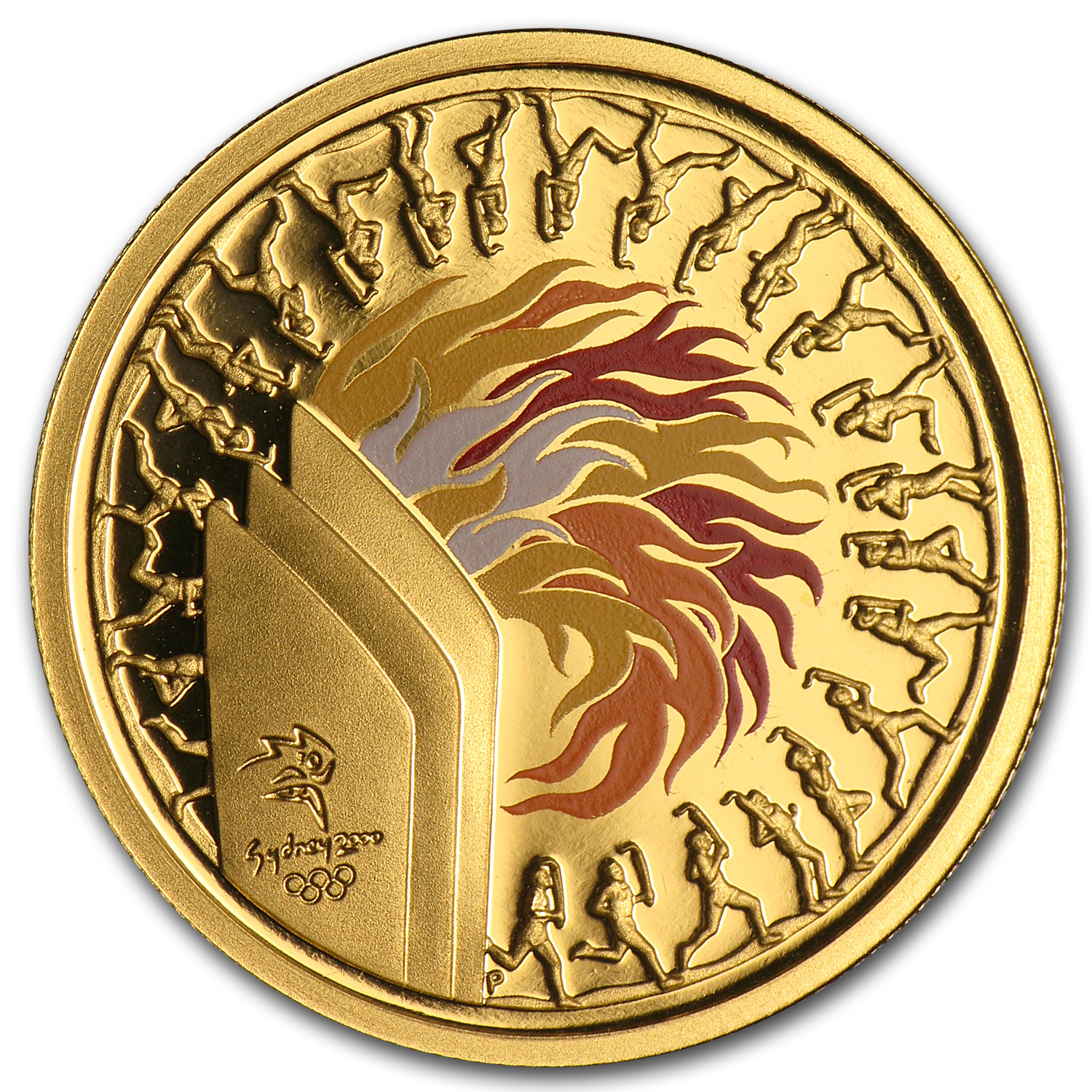 2000 Gold $100 Sydney Olympics Torch Proof (In Capsule)