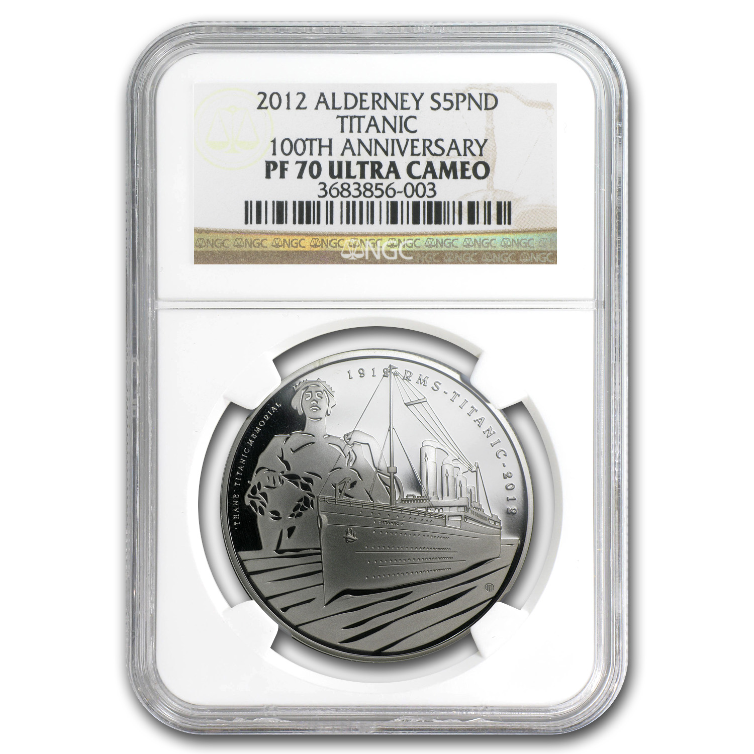 2012 Alderney Silver 10 Pounds 100th Anniv Titanic PF-70 NGC