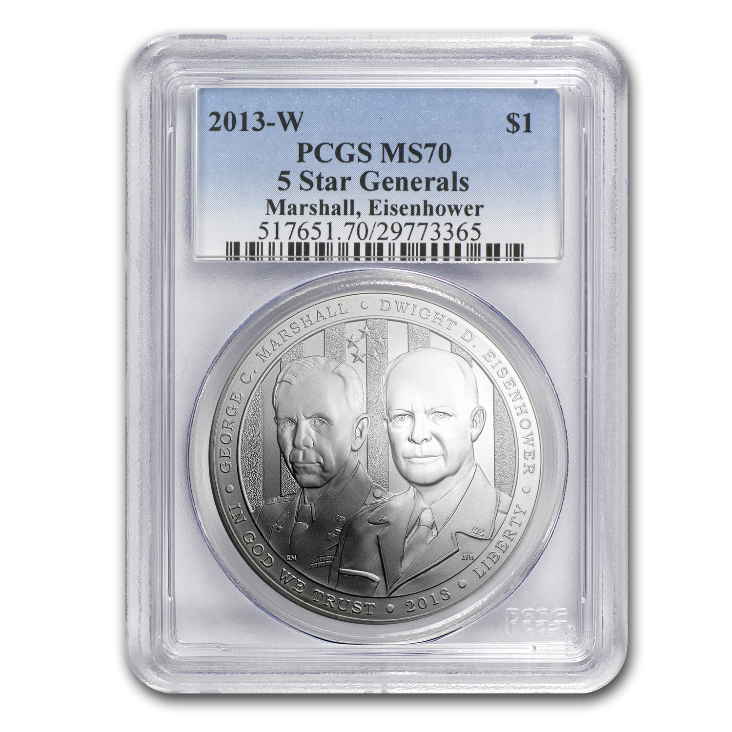 2013-W Five Star General $1 Silver Commemorative MS-70 PCGS