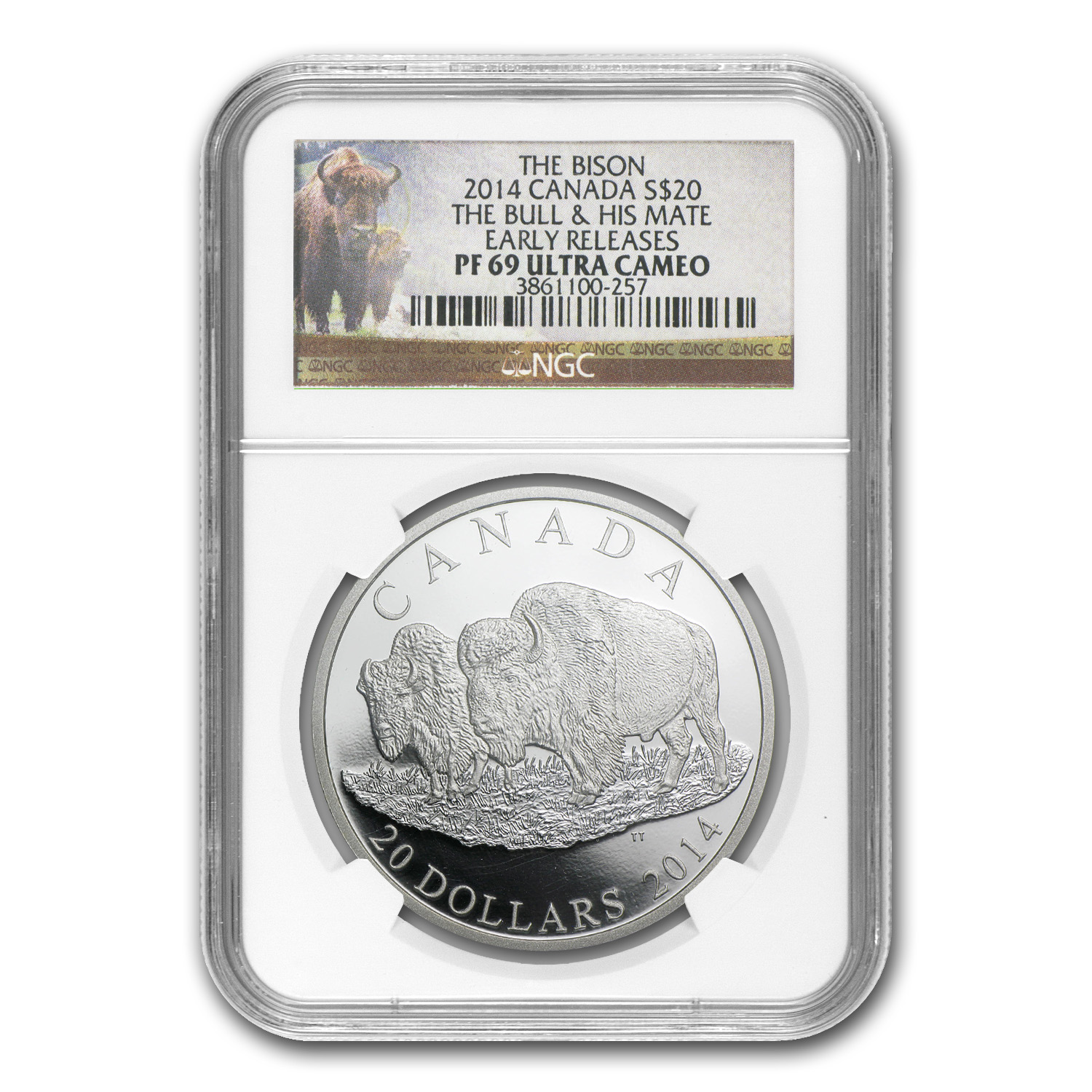 2014 Can 1 oz Silver Bison The Bull & His Mate PF-69 NGC (ER)