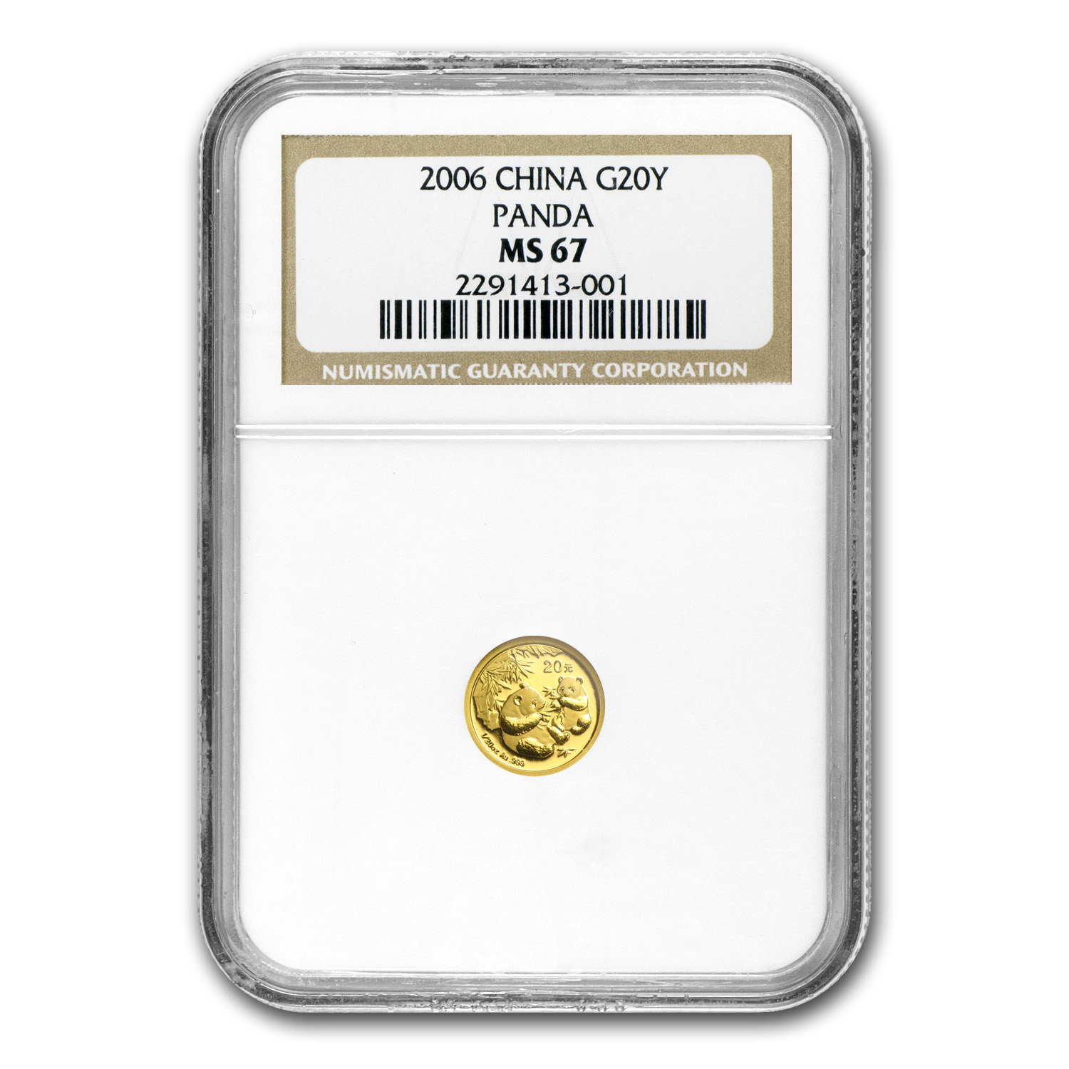 2006 China 1/20 oz Gold Panda MS-67 NGC