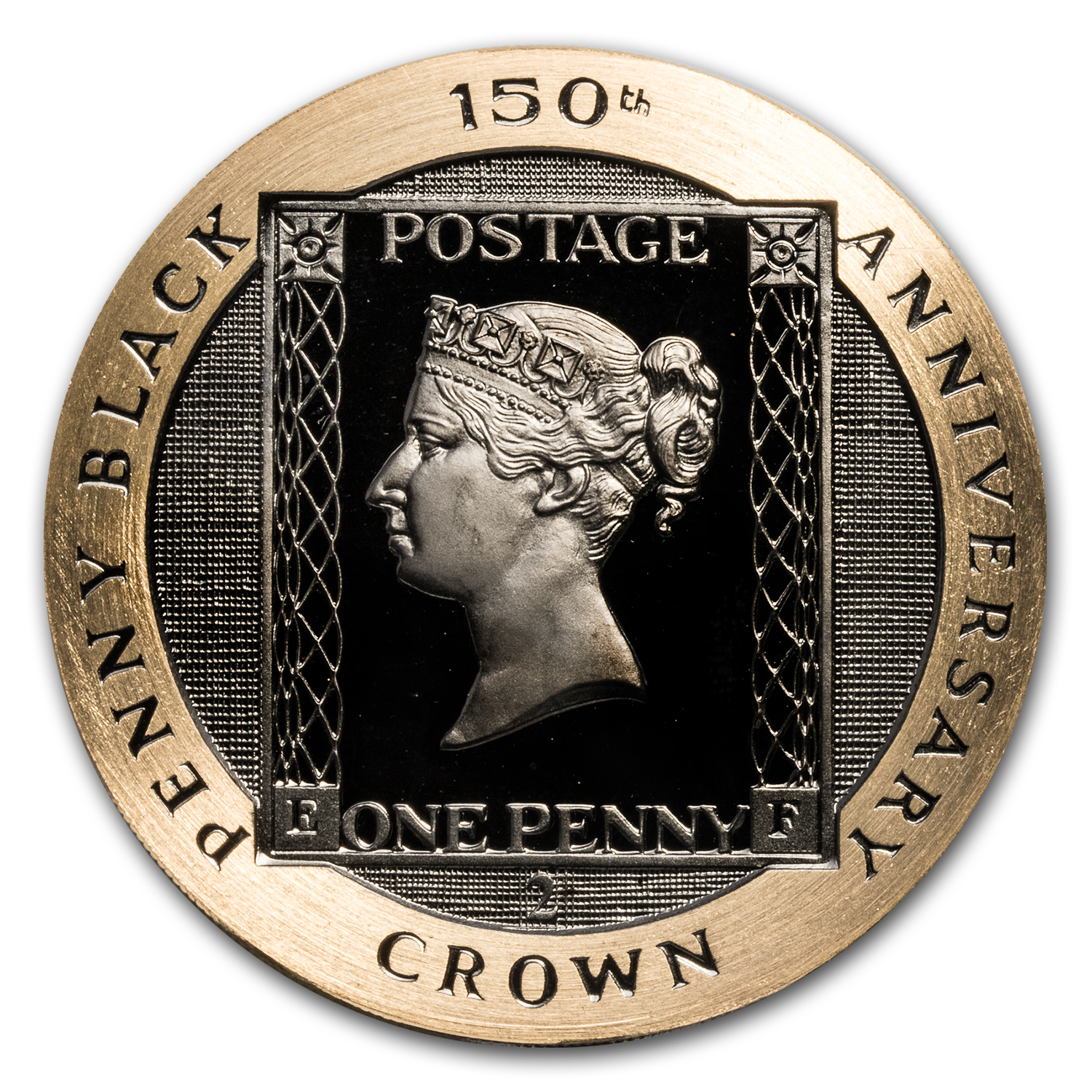 1990 Isle of Man 2 Crown Proof Gold Penny Black