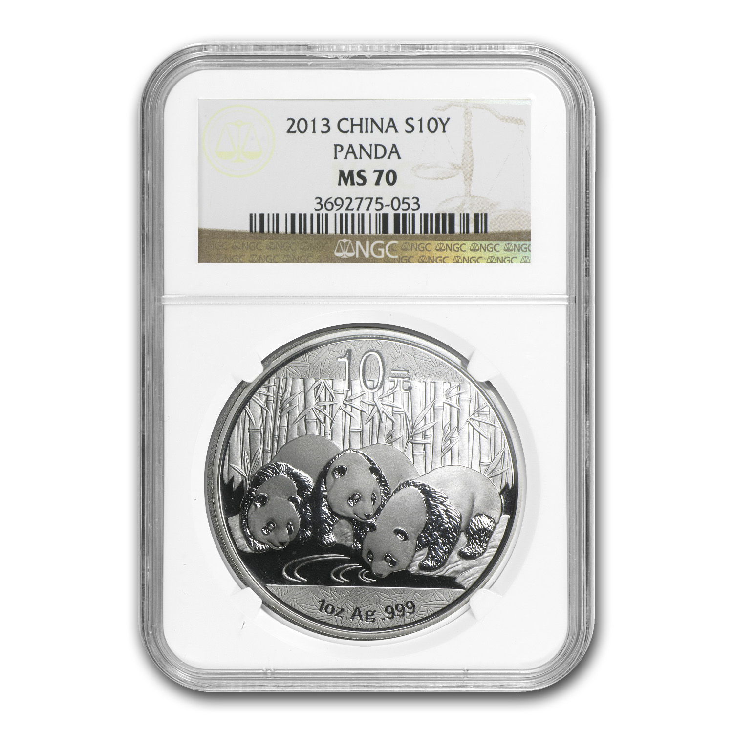2013 China 1 oz Silver Panda MS-70 NGC