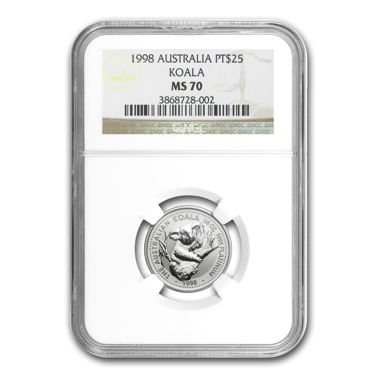 1998 1/4 oz Australian Platinum Koala MS-70 NGC (Registry Set)