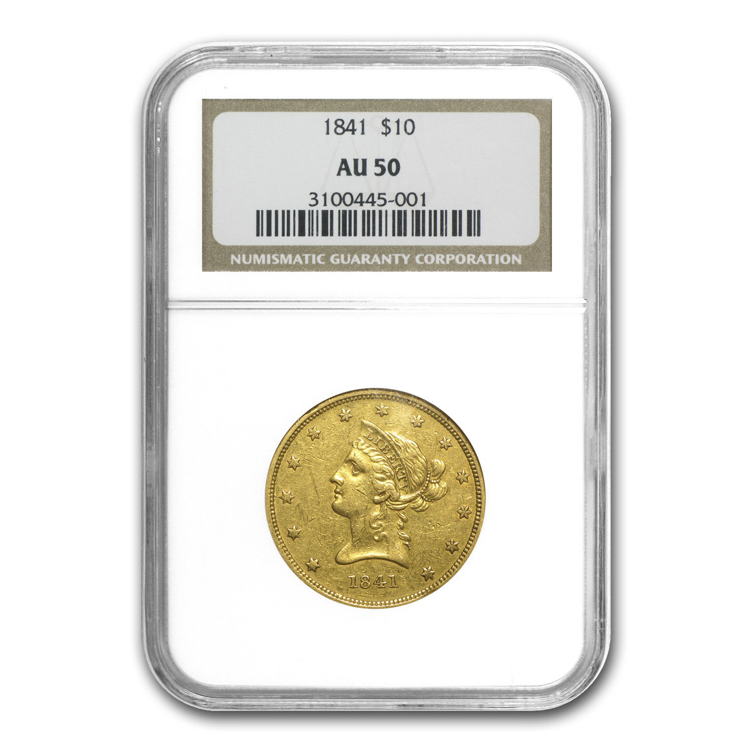 1841 $10 Liberty Gold Eagle - AU-50 NGC