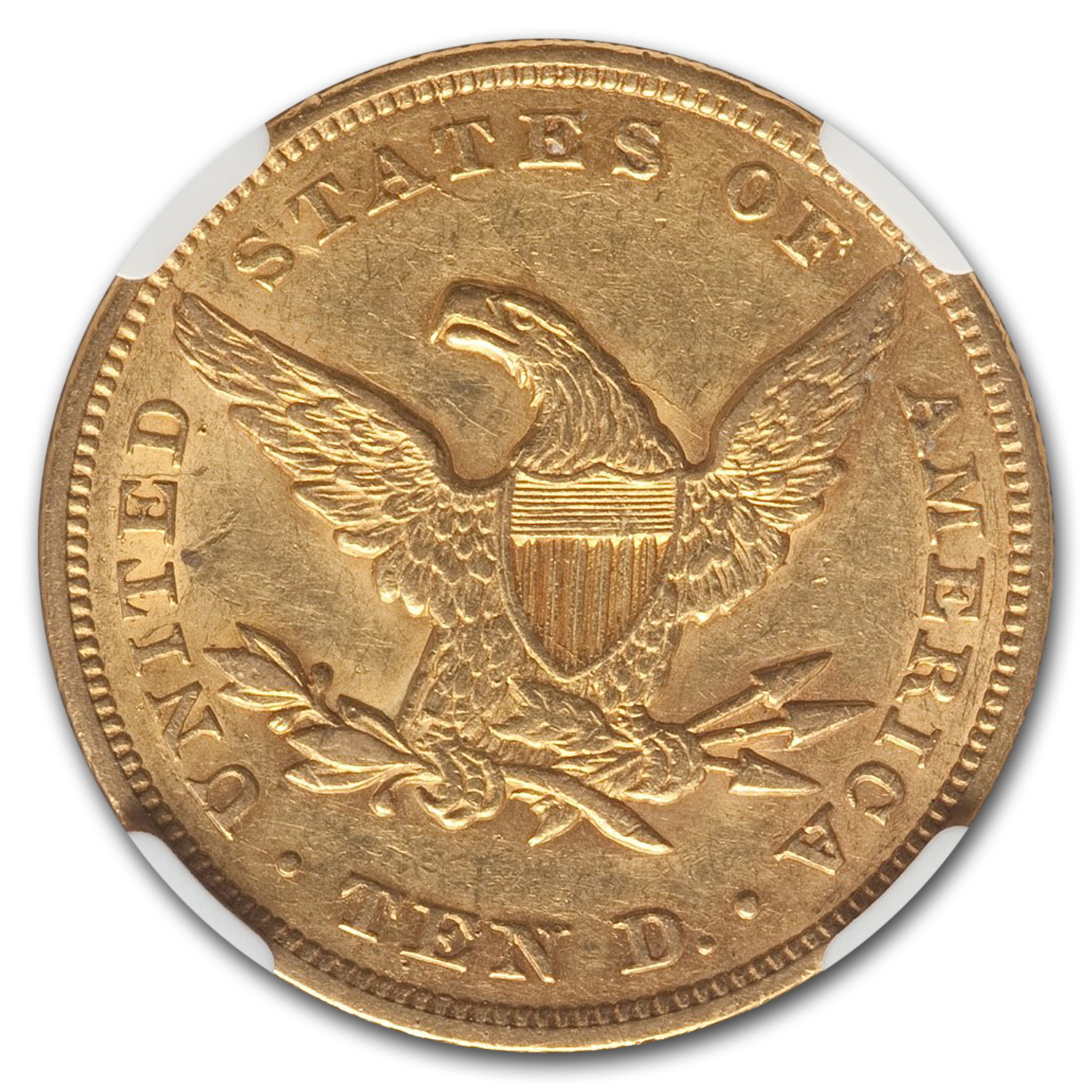 1850 $10 Liberty Gold Eagle Large Date - AU-55 NGC