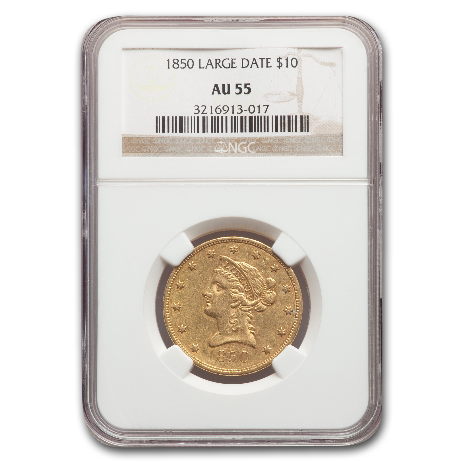 1850 $10 Liberty Gold Eagle Large Date AU-55 NGC