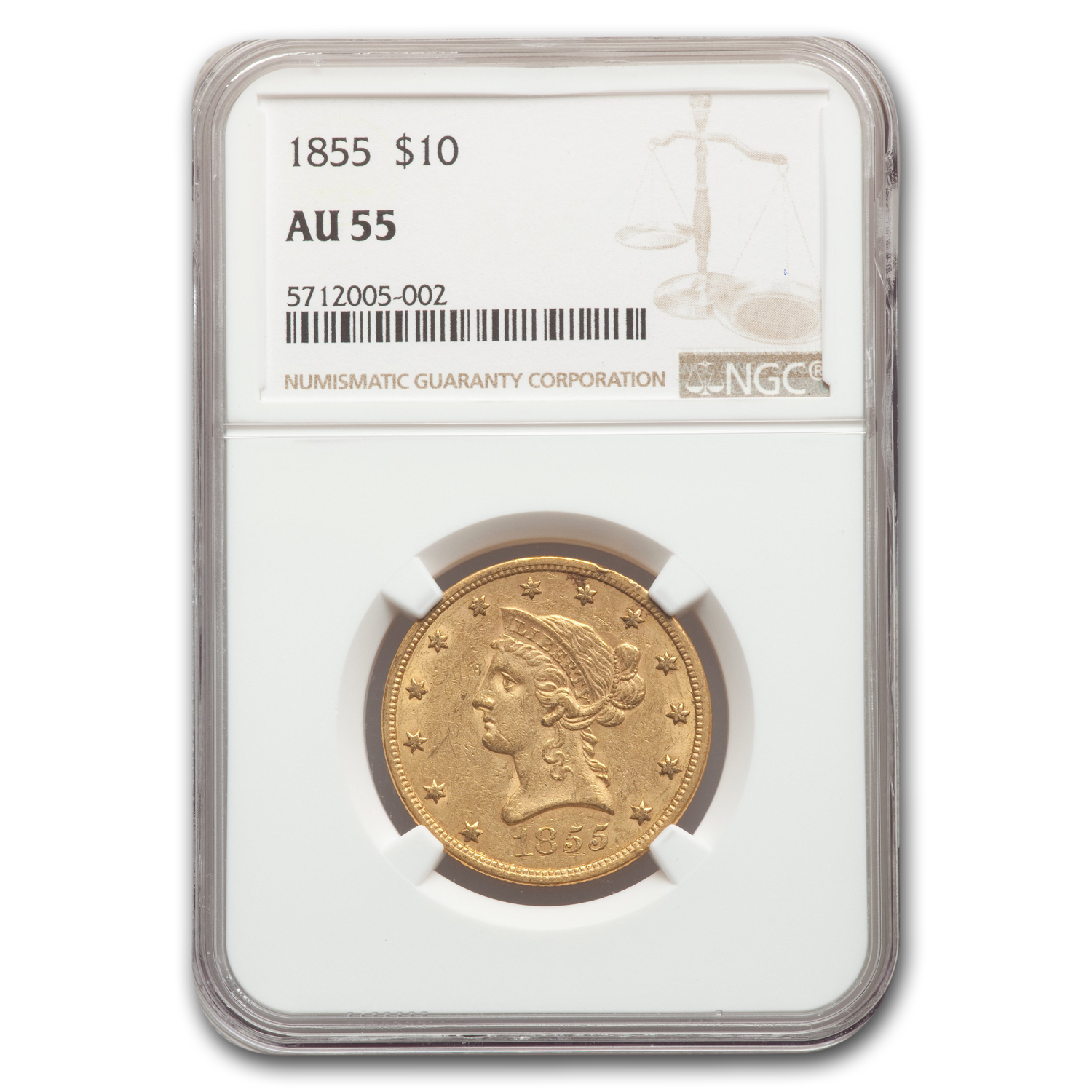 1855 $10 Liberty Gold Eagle - AU-55 NGC