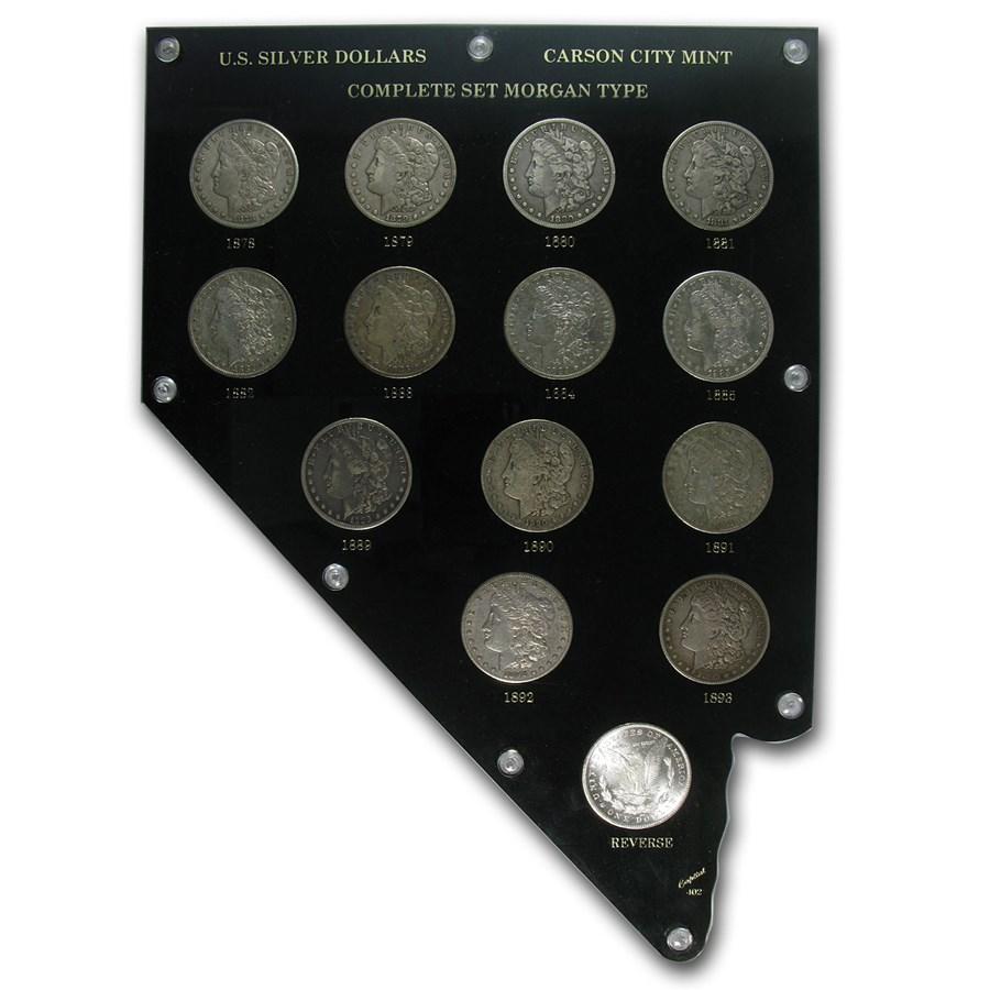 Complete 14 Coin Morgan Dollar Carson City Collection Xf