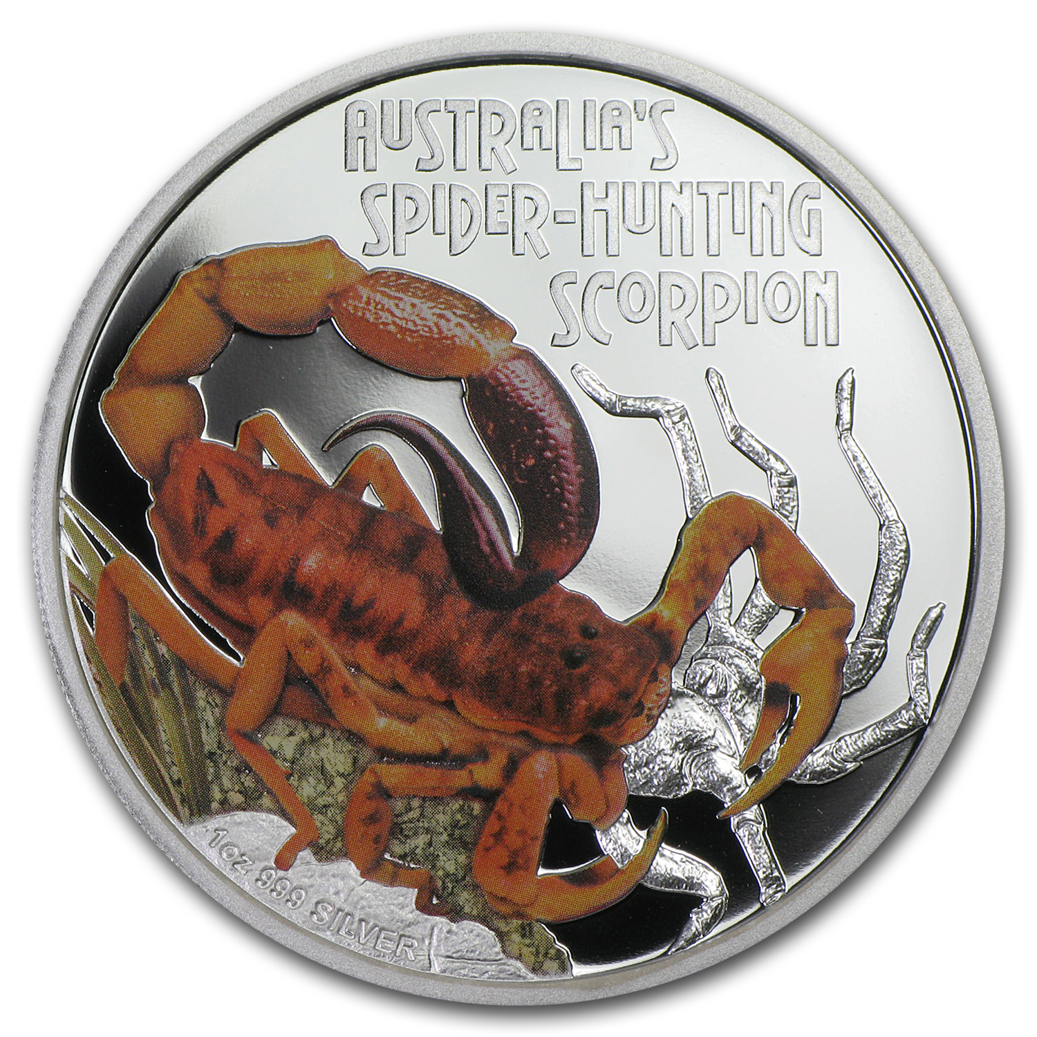 2014 1 oz Pf Silver Spider Hunting Scorpion - Deadly & Dangerous