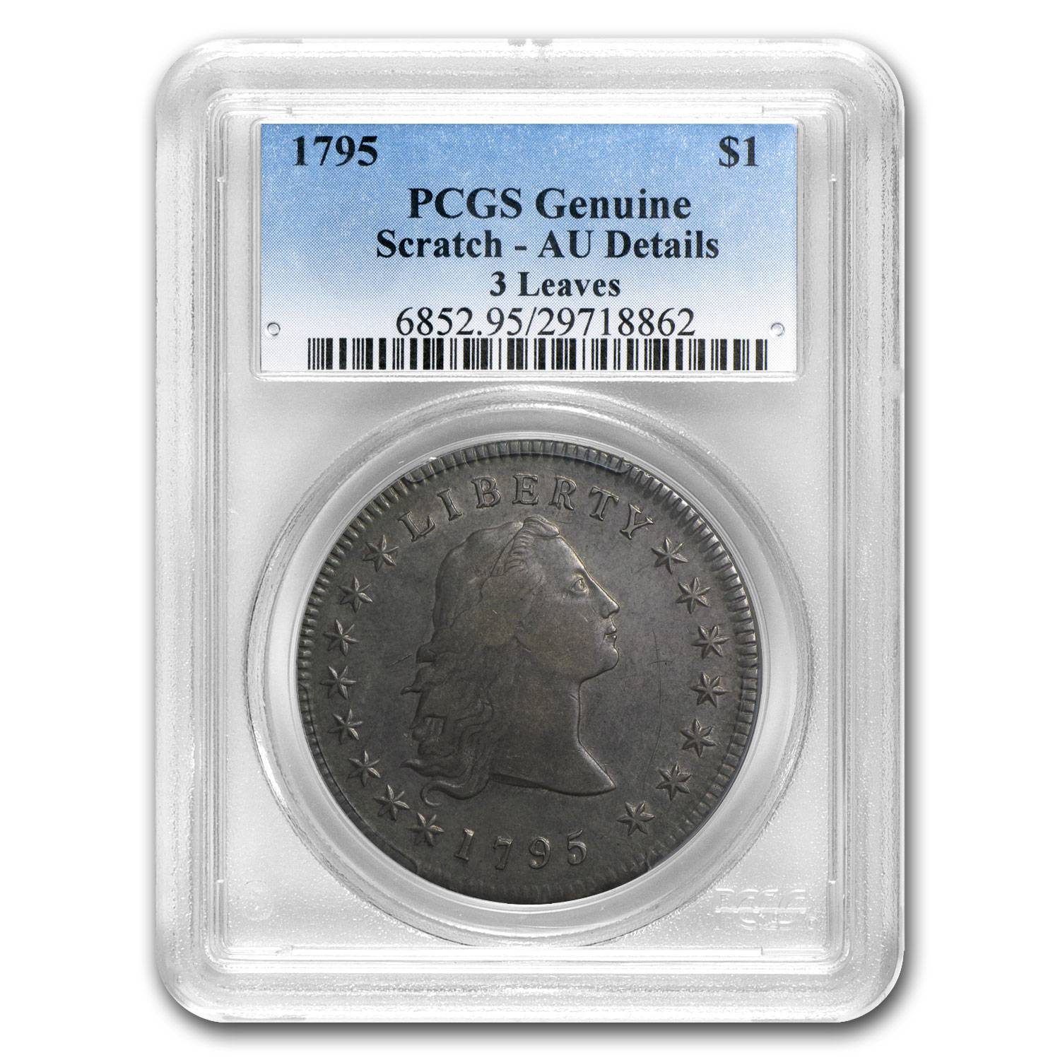 1795 Flowing Hair Dollar AU Details - Scratch - PCGS - 3 Leaves