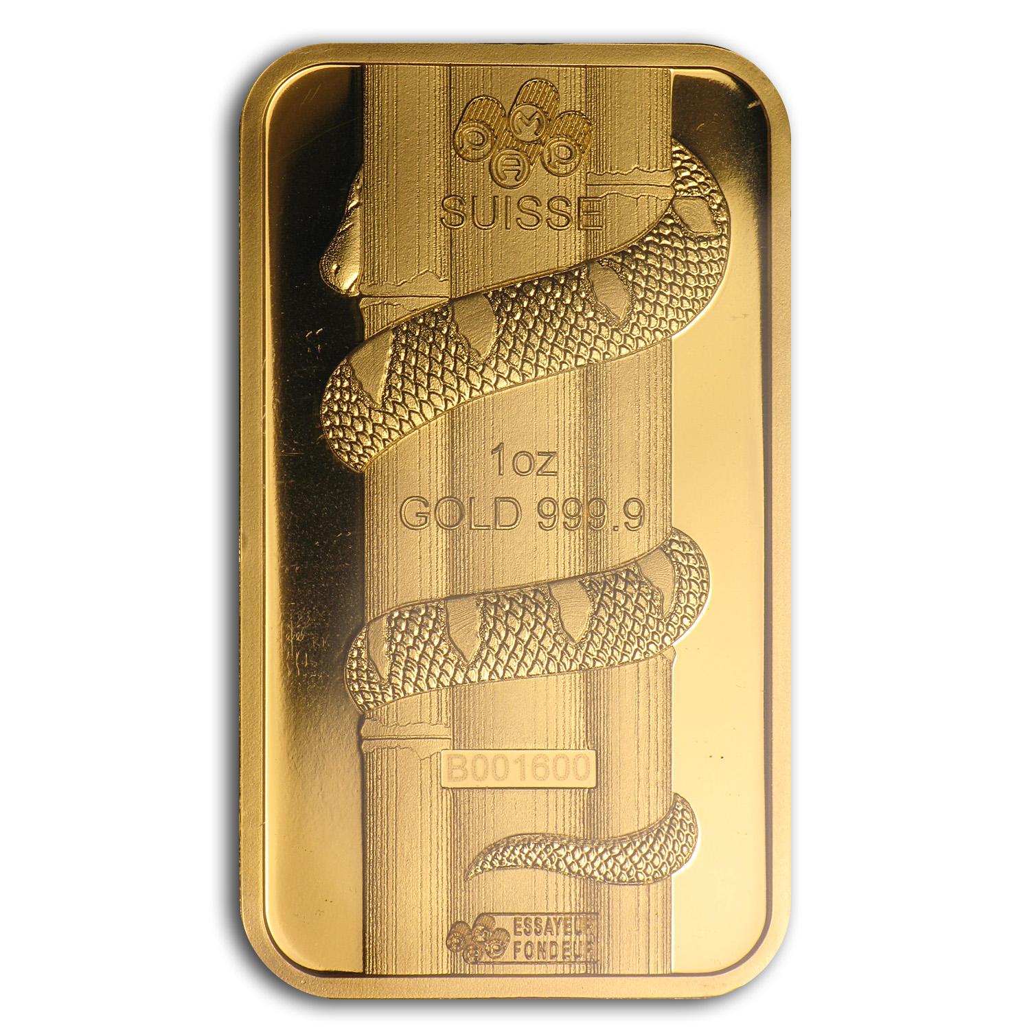 1 oz Gold Bar - Pamp Suisse (Year of the Snake, in Assay)